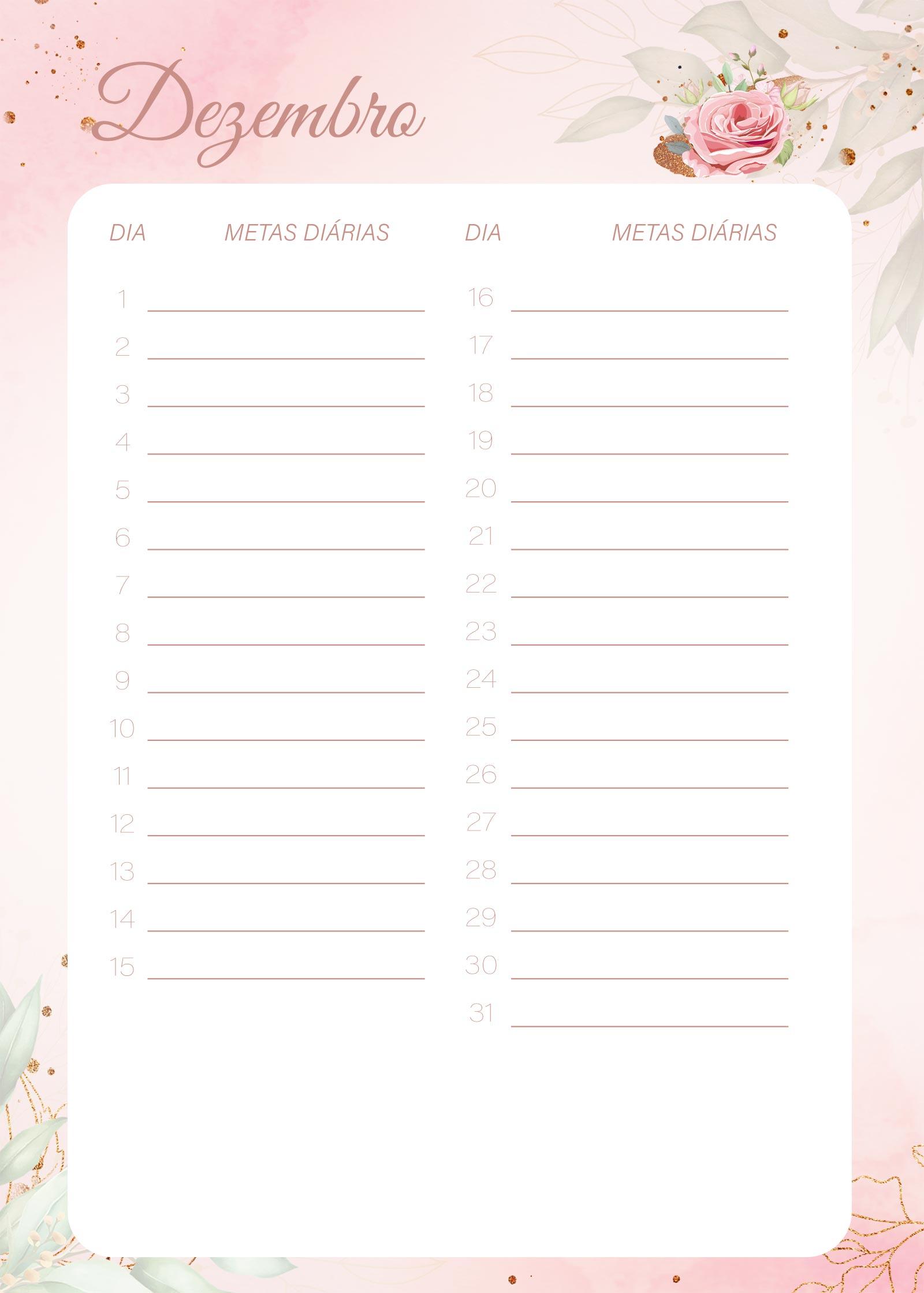 Planner 2021 Floral com Inicial Metas Diarias Dezembro