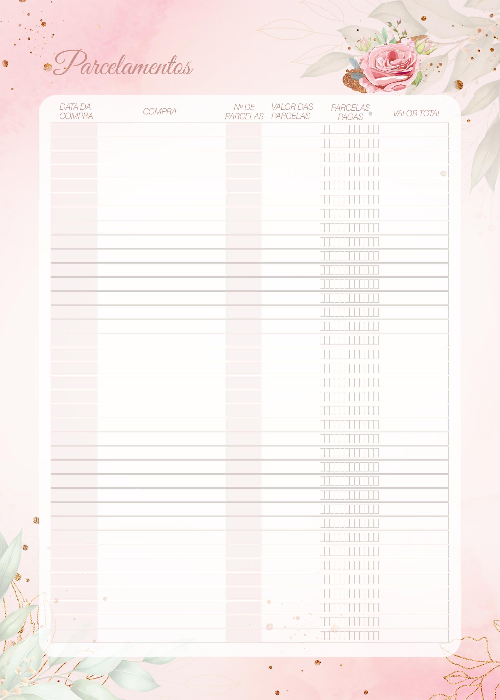 Planner 2021 Floral com Inicial Parcelamentos