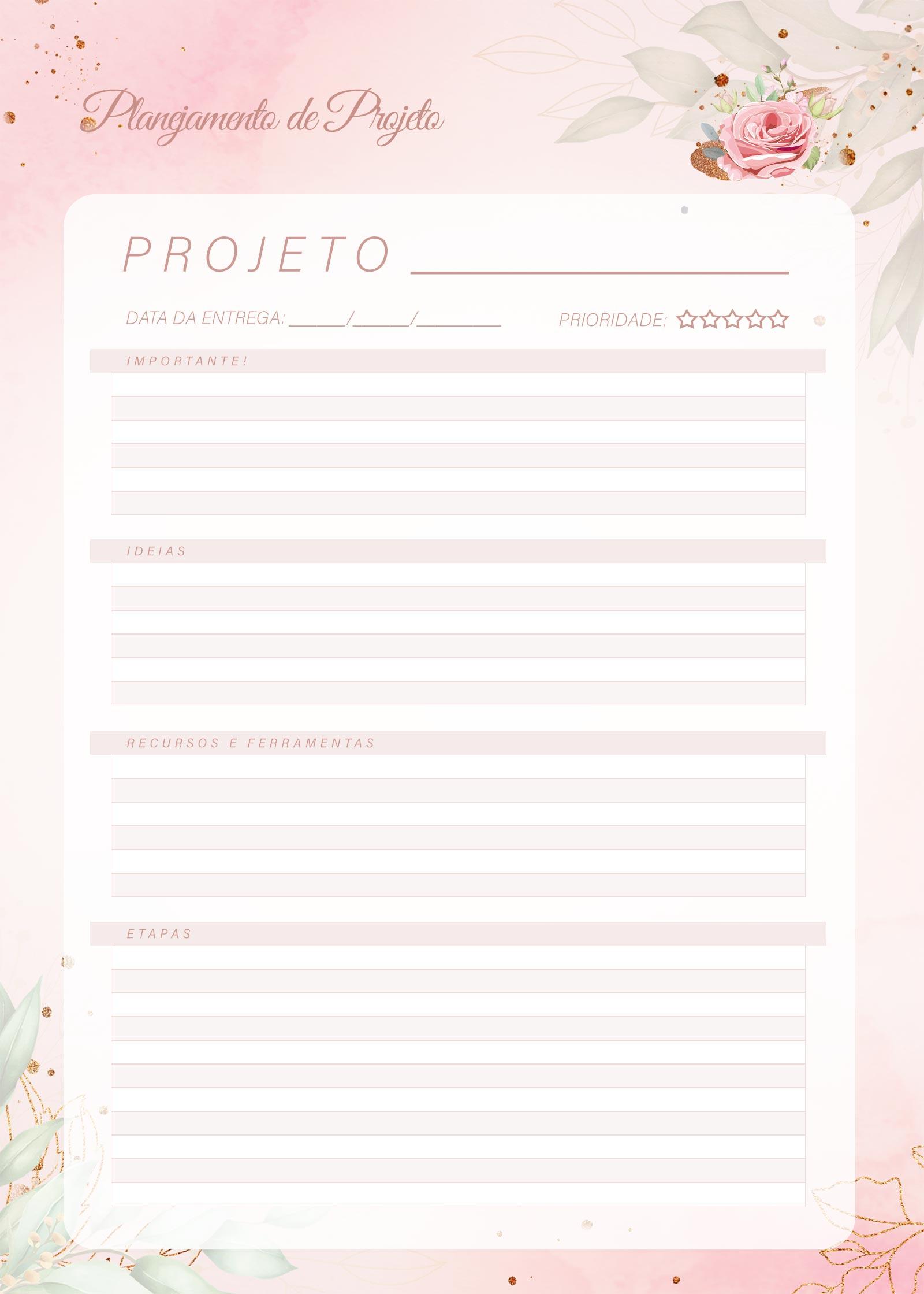 Planner 2021 Floral com Inicial Projetos