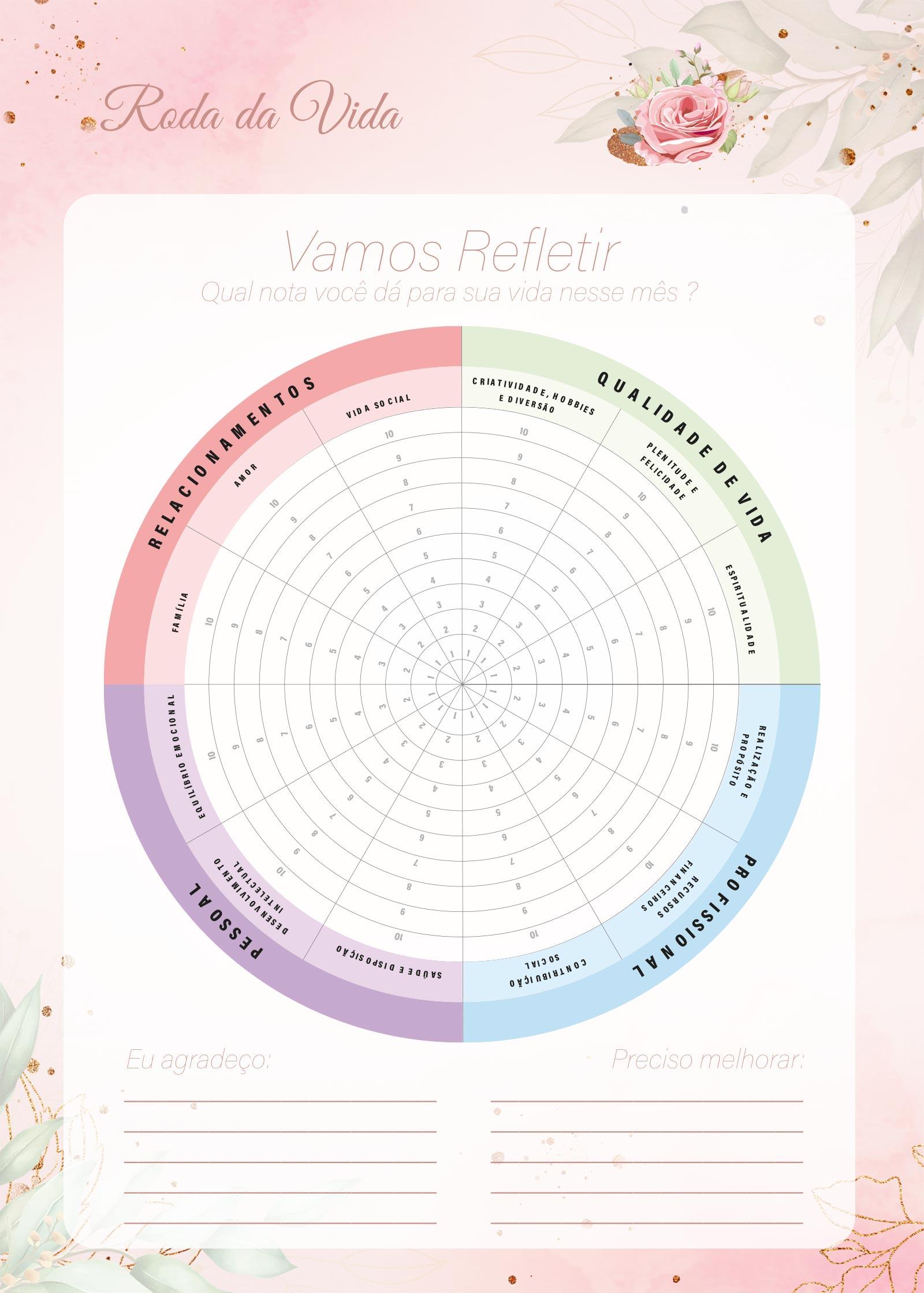 Planner 2021 Floral com Inicial Roda da Vida