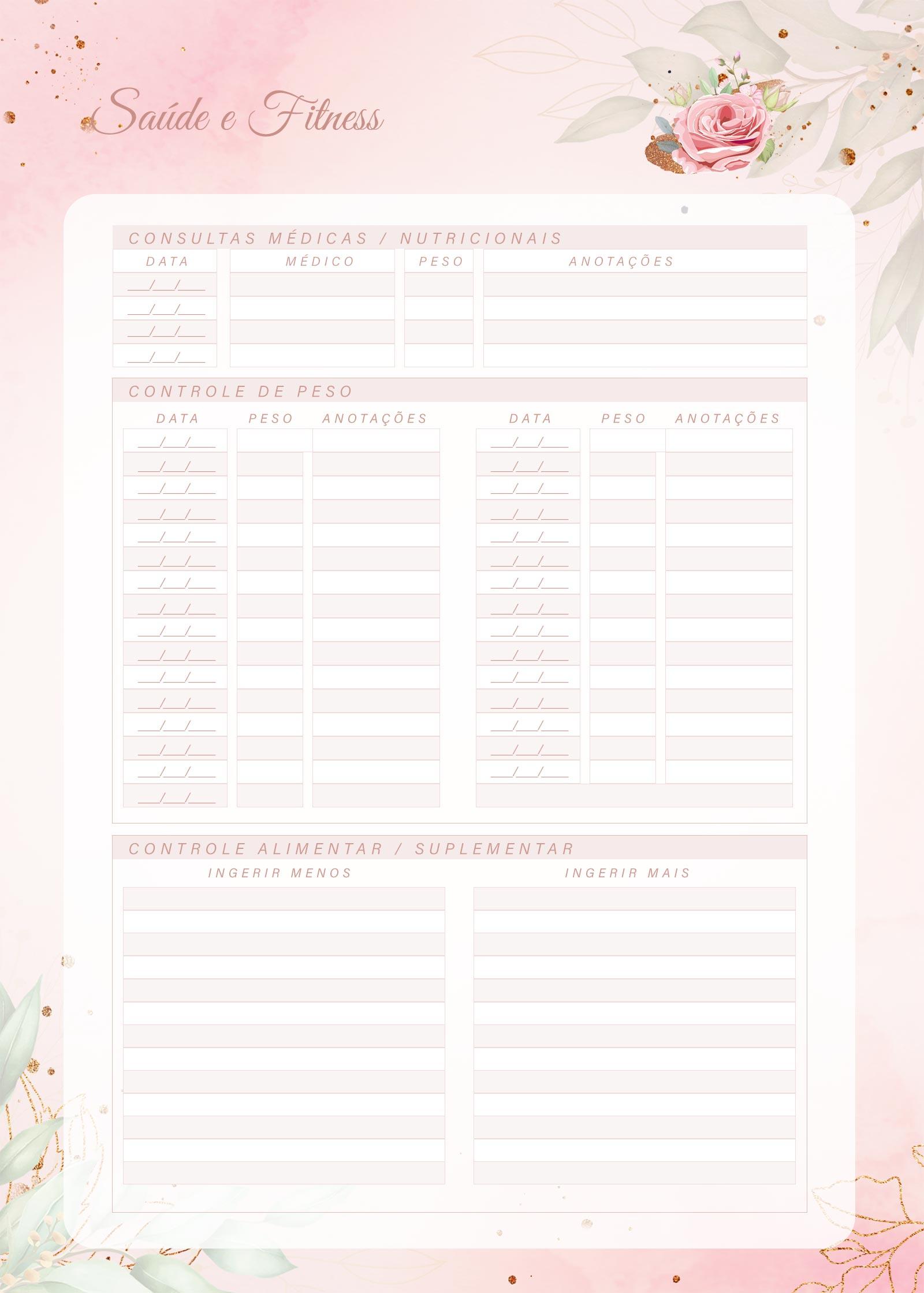 Planner 2021 Floral com Inicial Saude e Fitness