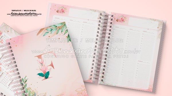 Planner 2021 Floral com Inicial
