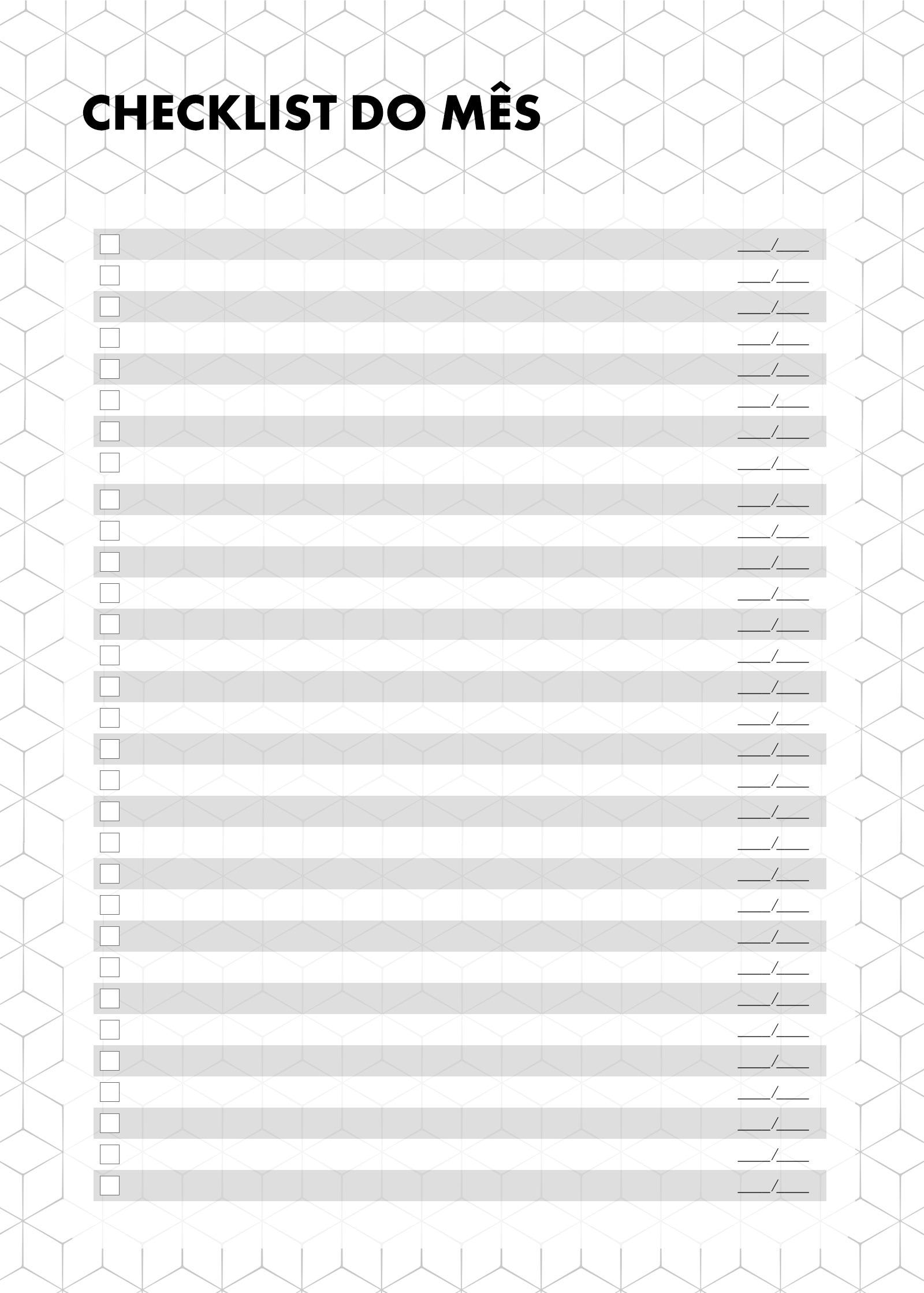 Planner 2021 Preto e Branco Checklist Mensal