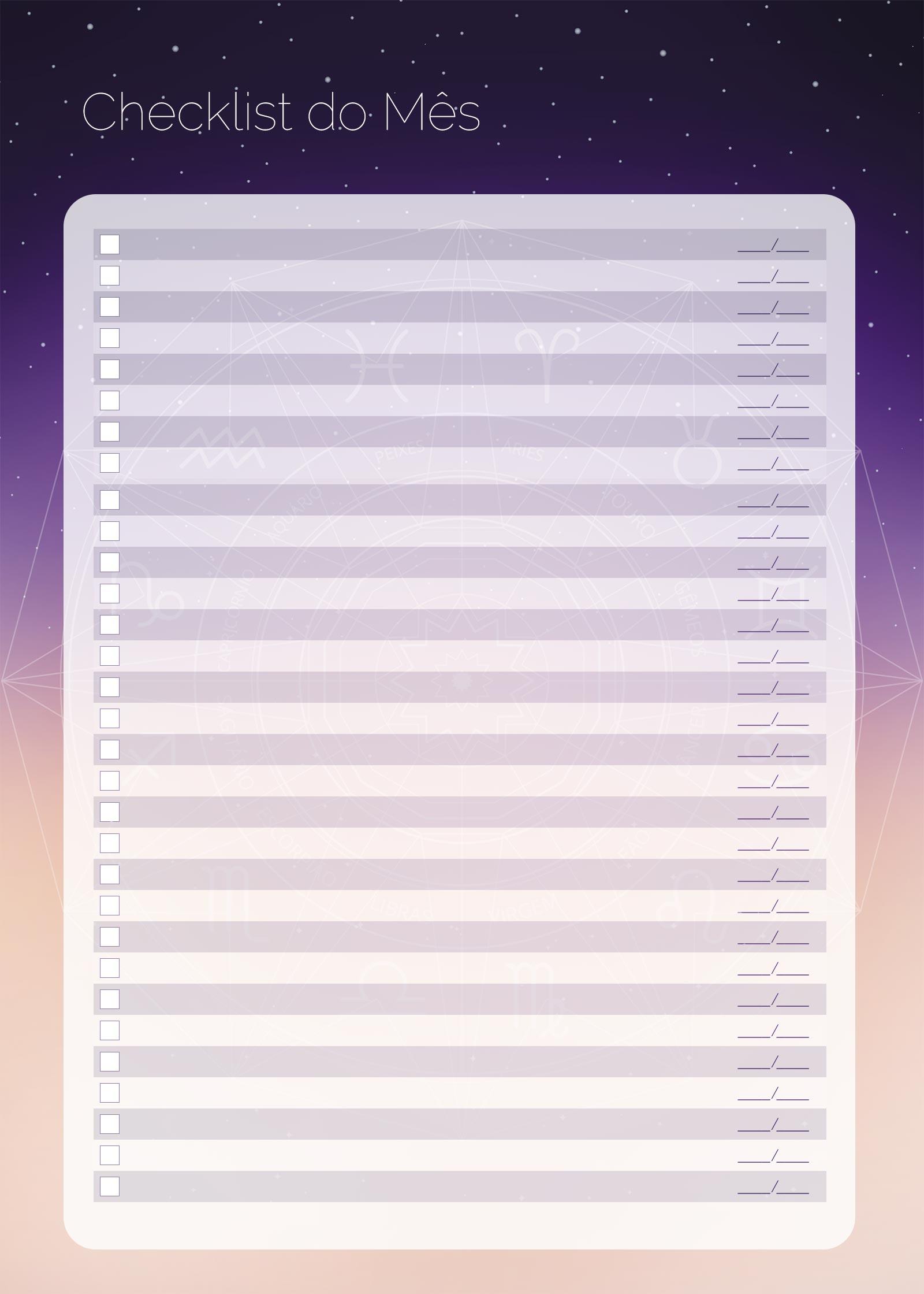 Planner 2021 Signos Checklist Mensal