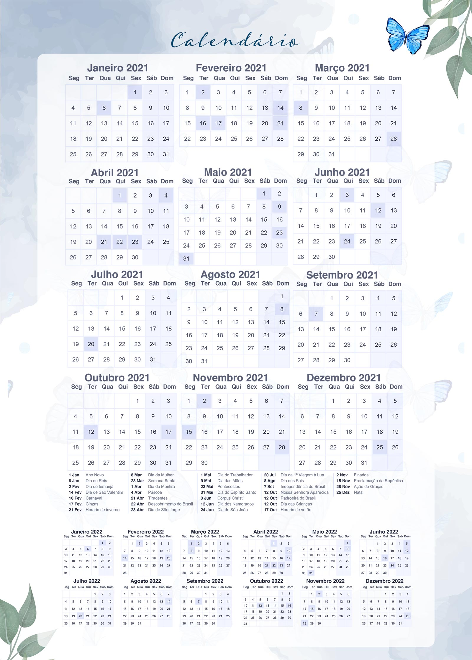 Planner Borboletas Azuis Calendario 2021