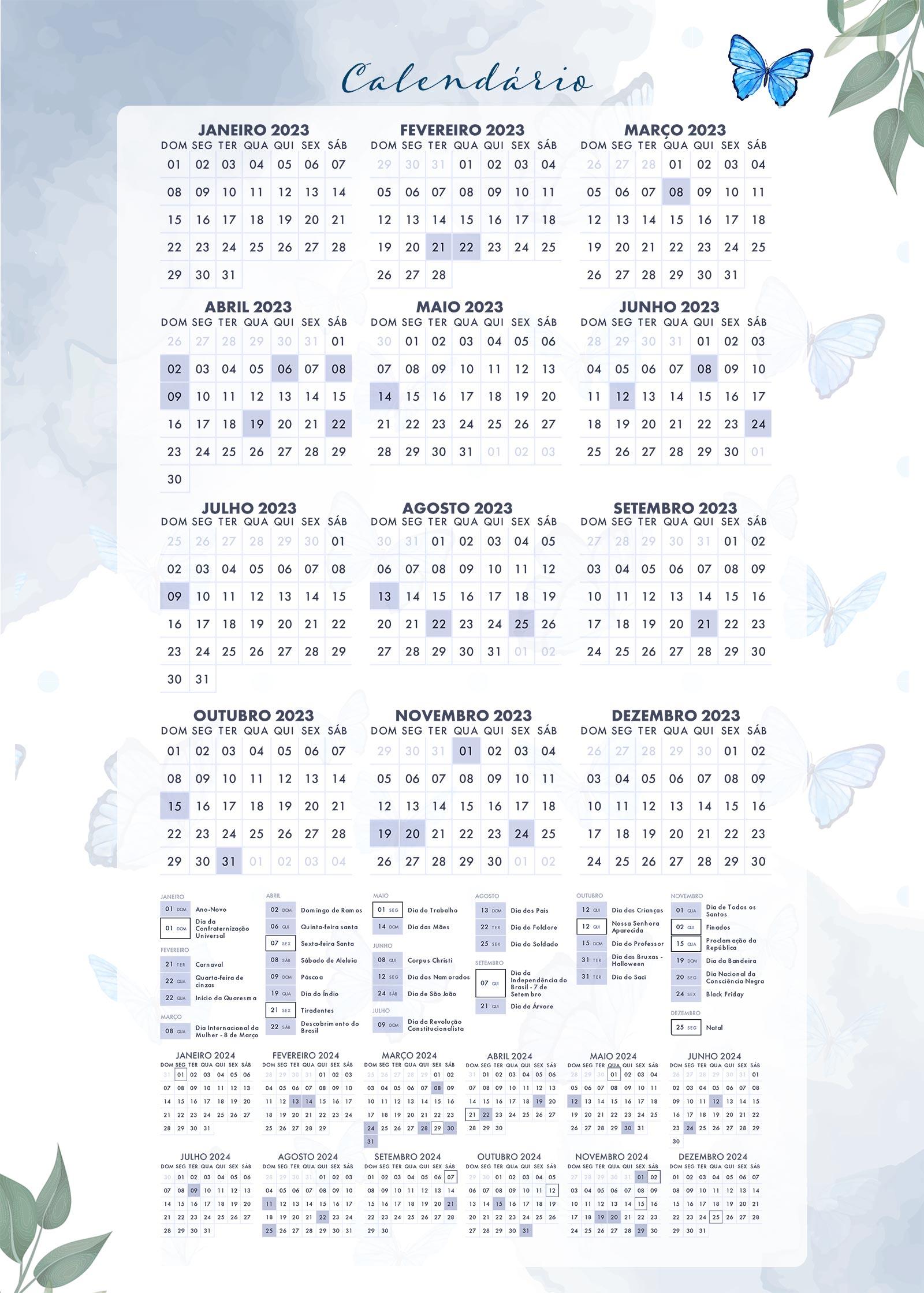 Planner Borboletas Azuis Calendario 2023