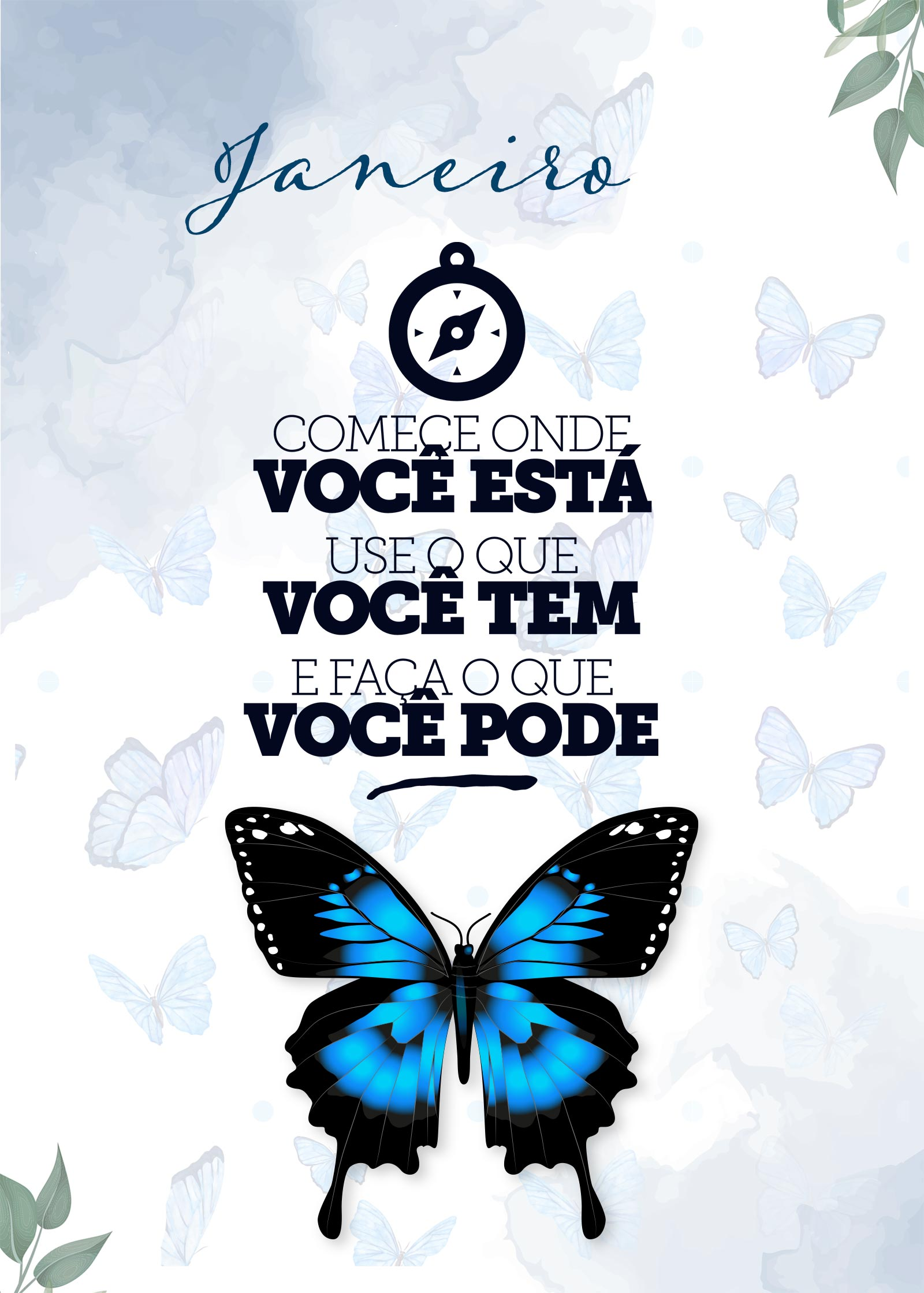 Planner Borboletas Azuis Janeiro Capa