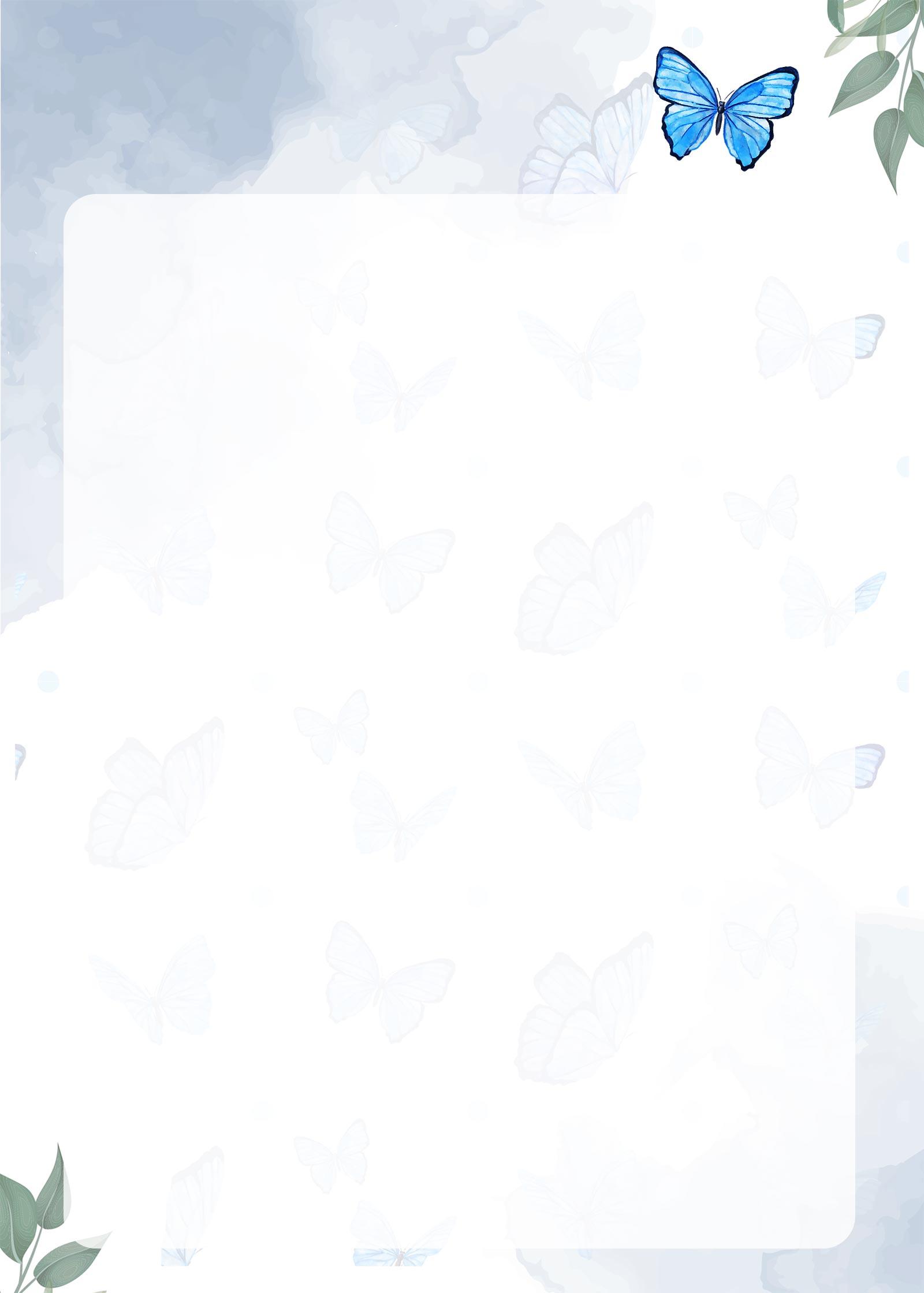 Planner Borboletas Azuis Molde em Branco