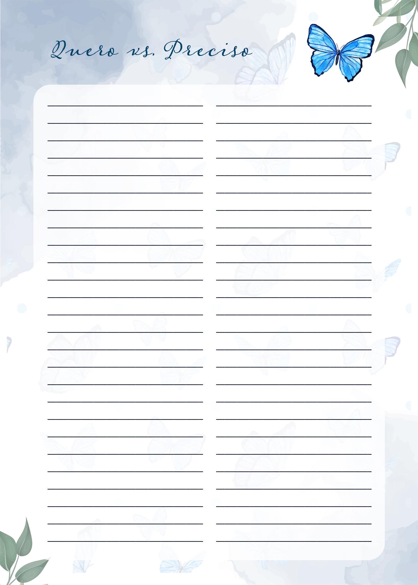 Planner Borboletas Azuis Quero vs Preciso