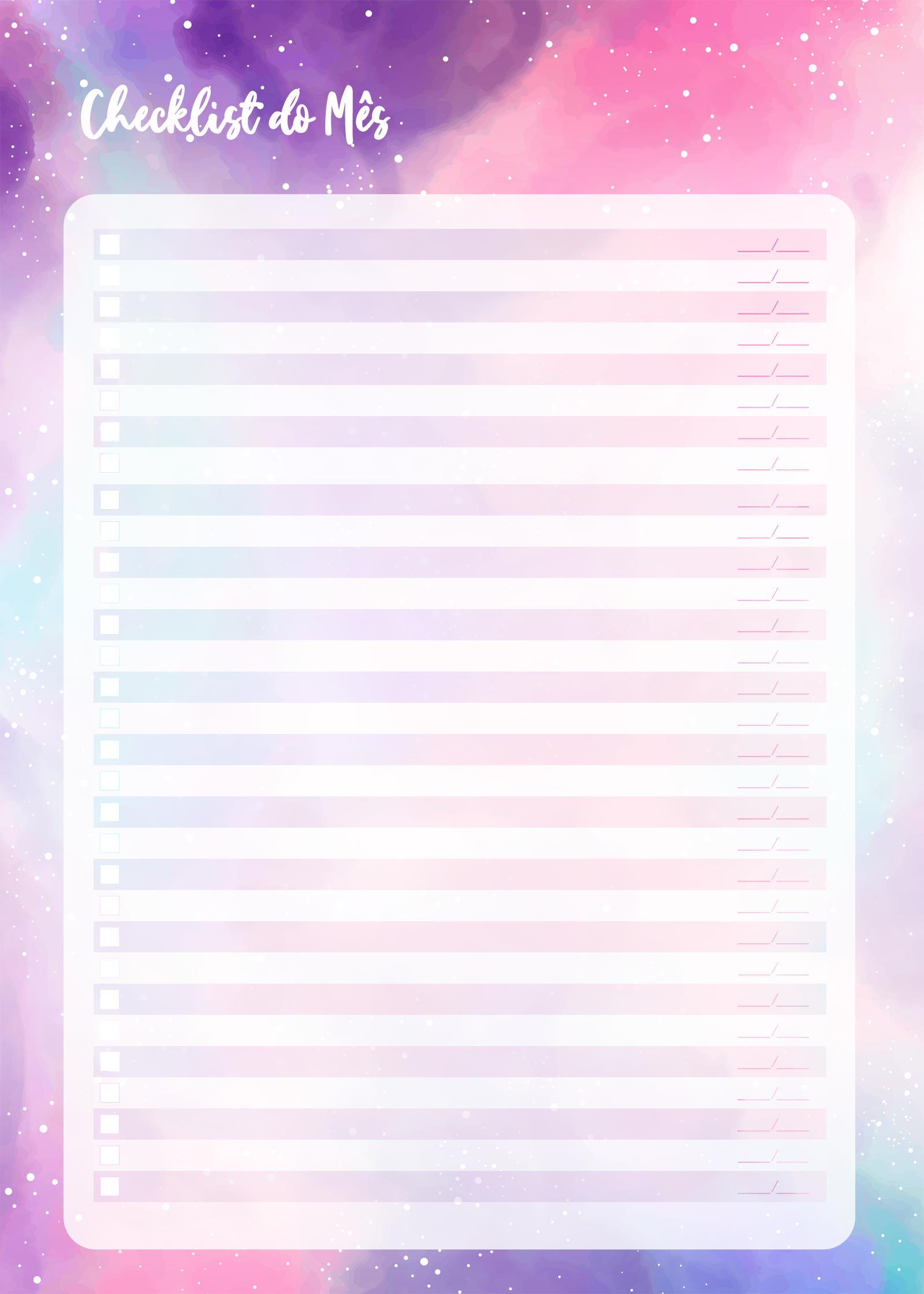 Planner Colorido 2021 Checklist Mensal
