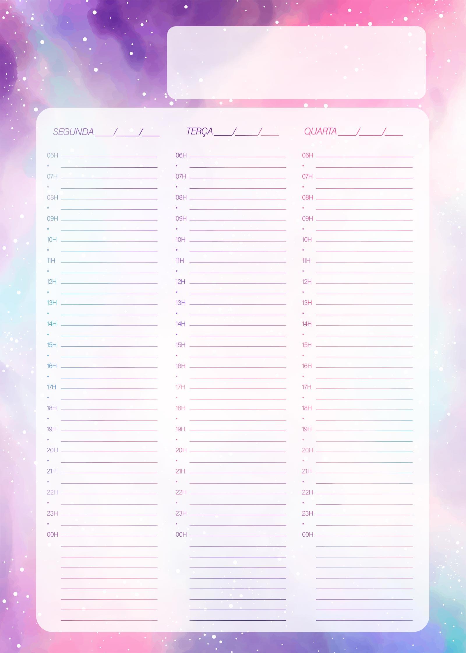 Planner Colorido Agenda Semanal Pagina 1