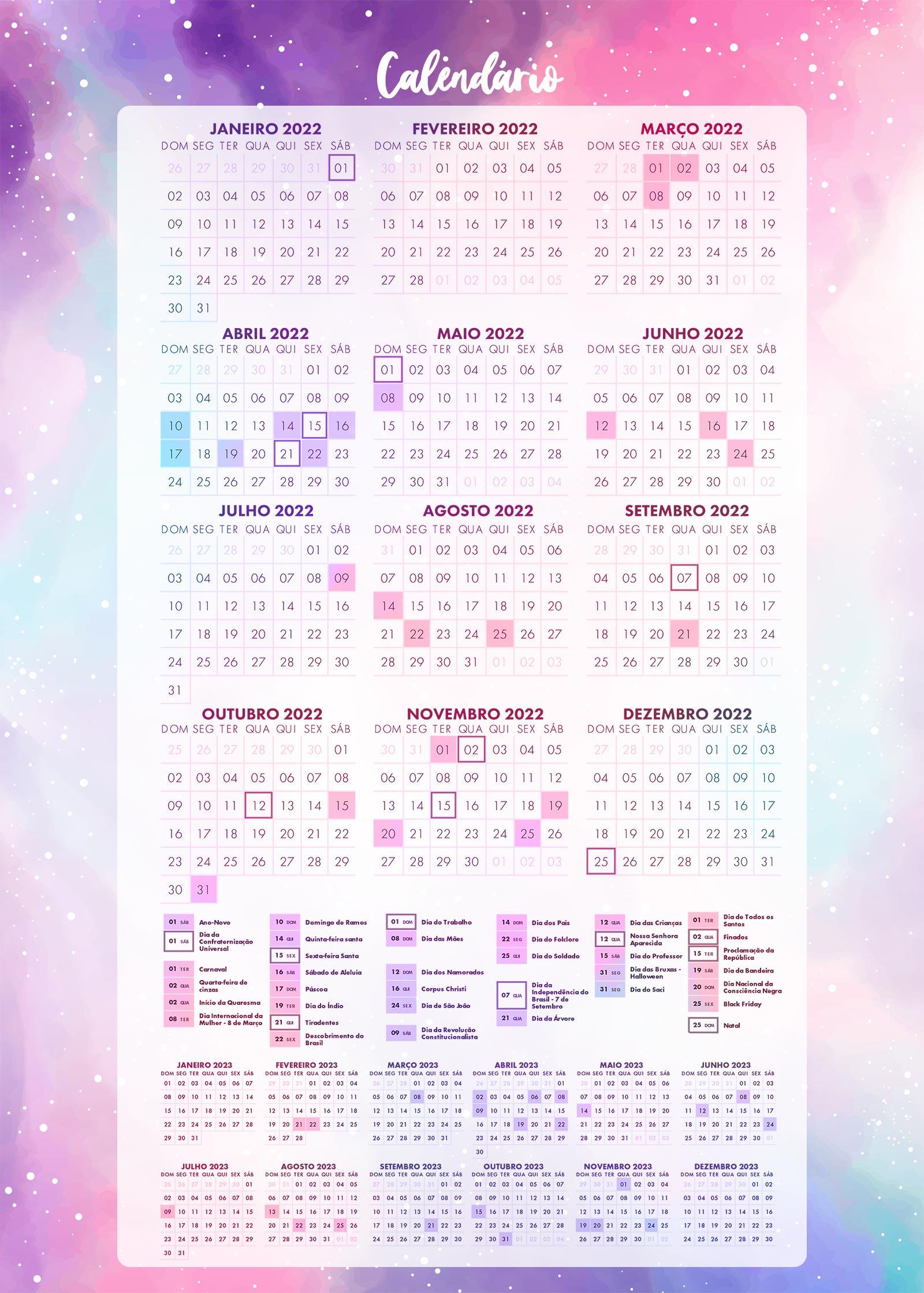 Planner Colorido Calendario 2022