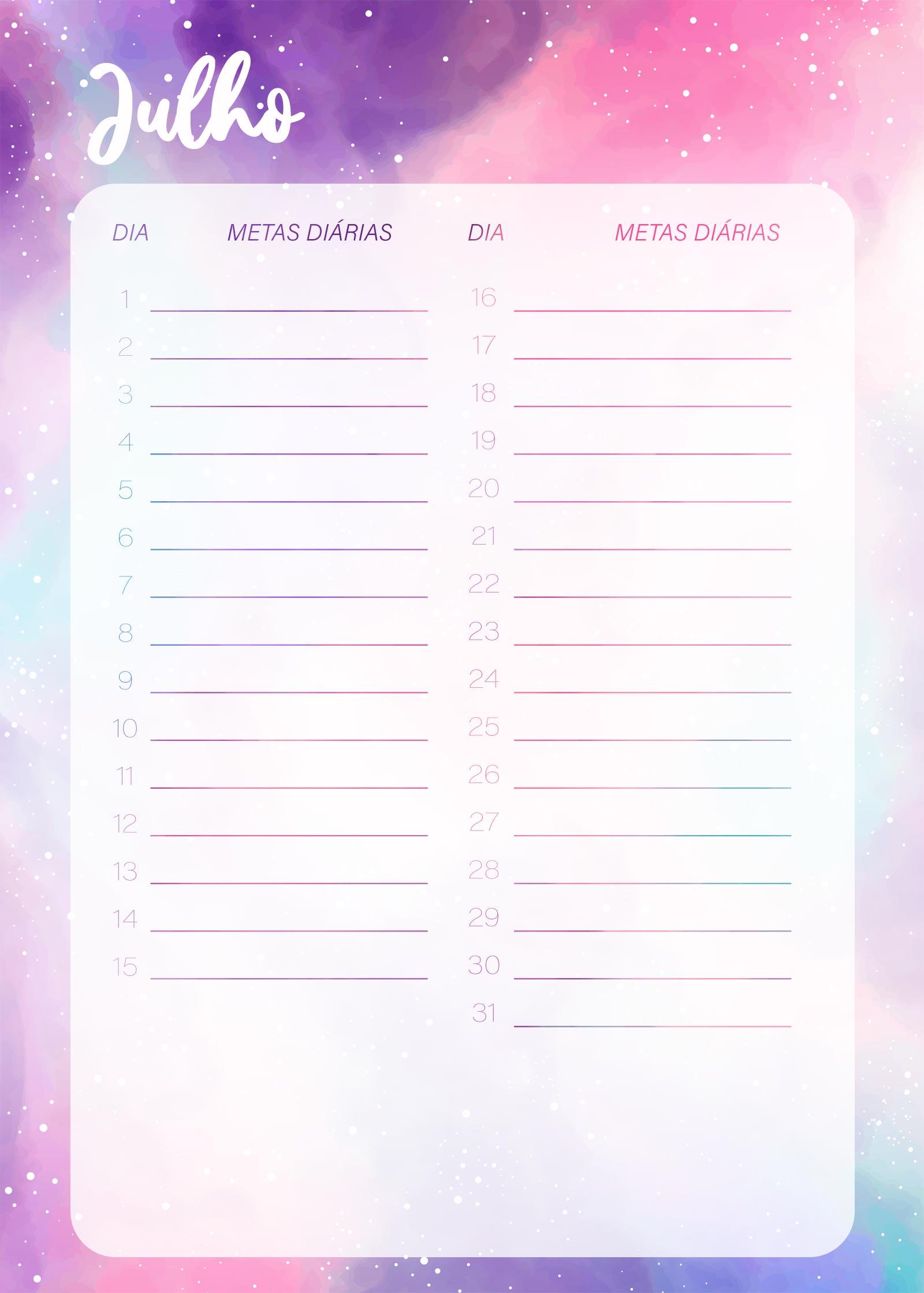 Planner Colorido Metas Diarias Julho