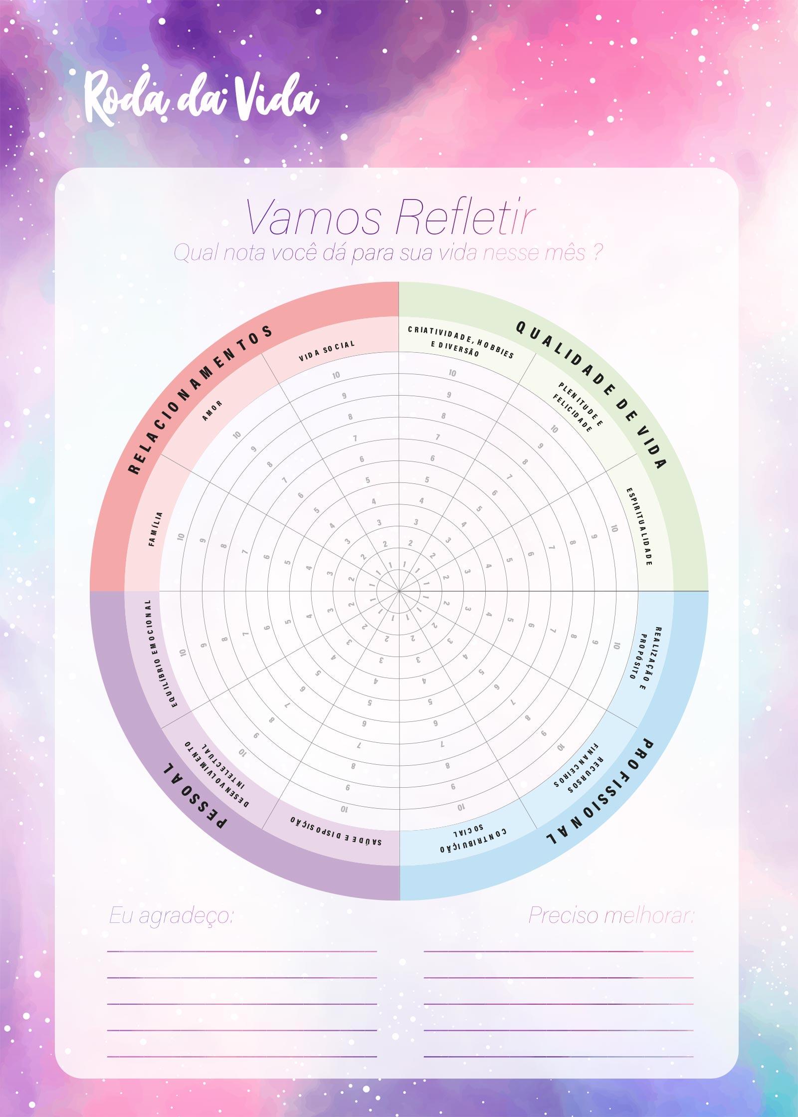 Planner Colorido Roda da Vida