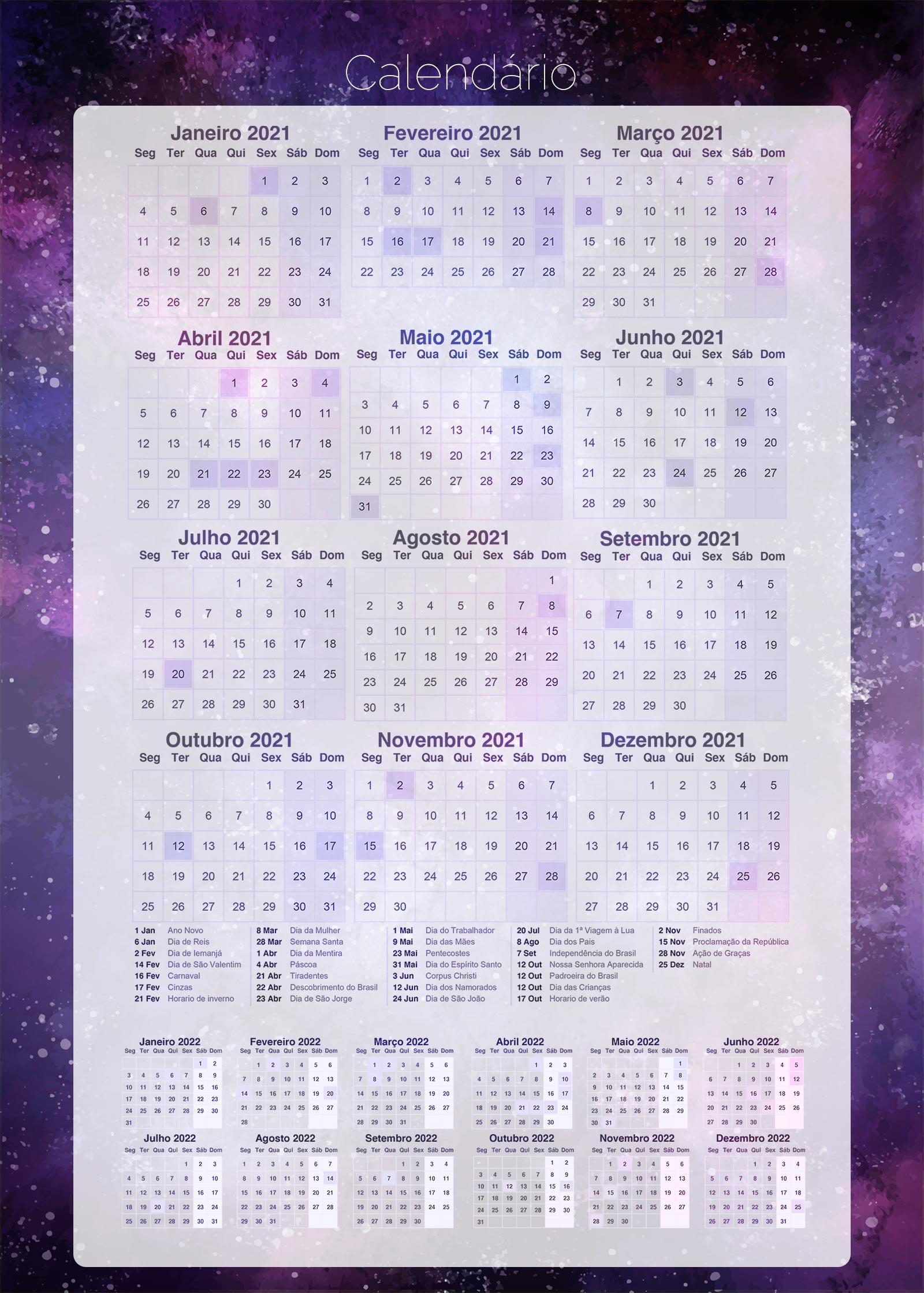Planner Galaxia Lilas Calendario 2021