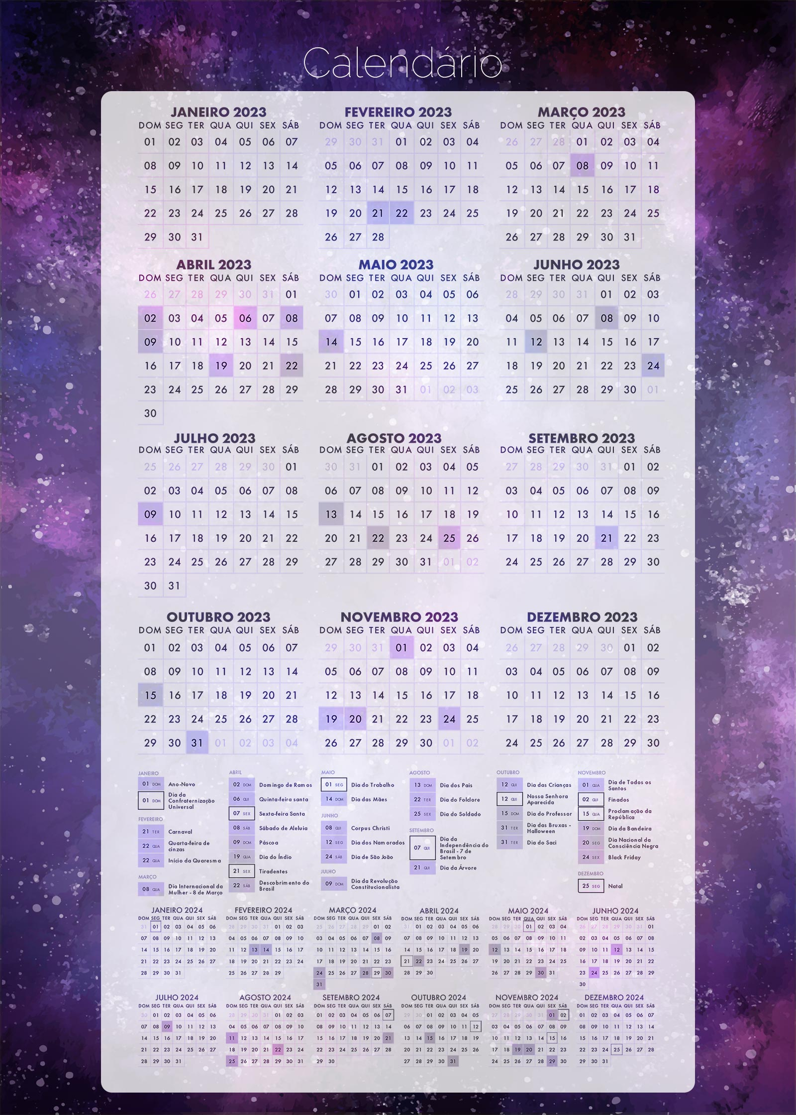 Planner Galaxia Lilas Calendario 2023