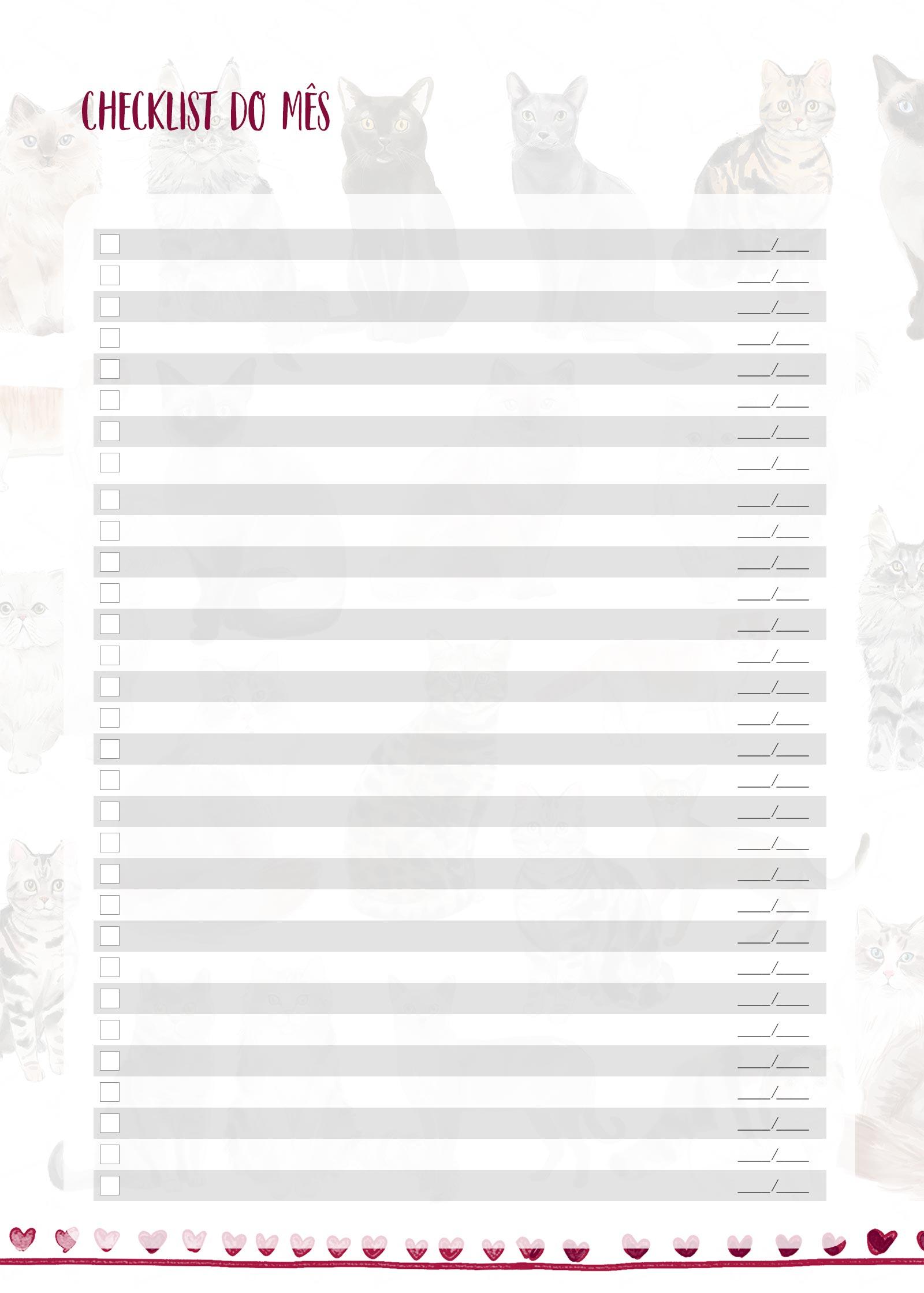 Planner Gatinhos Checklist Mensal