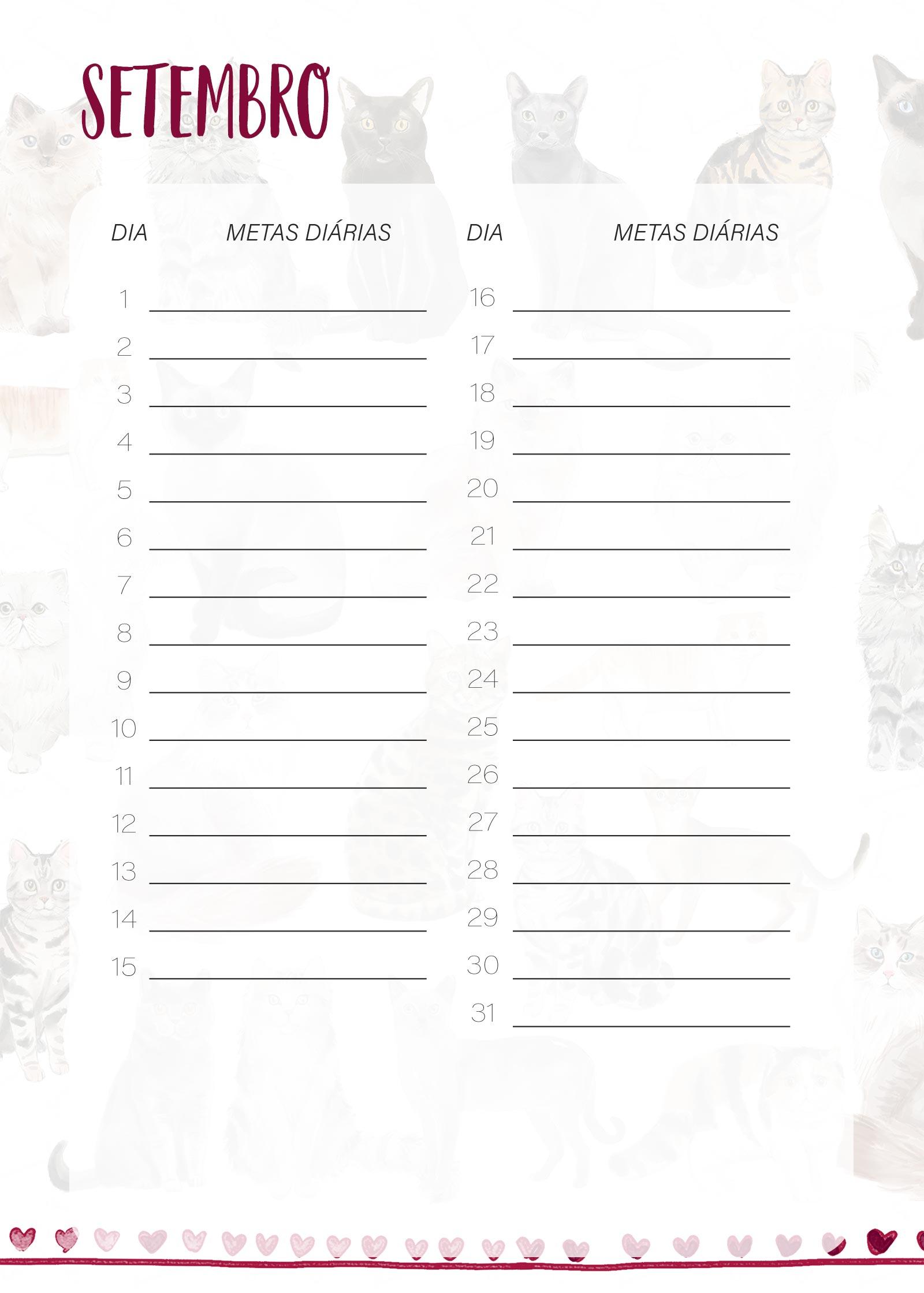 Planner Gatinhos Metas Diarias Setembro