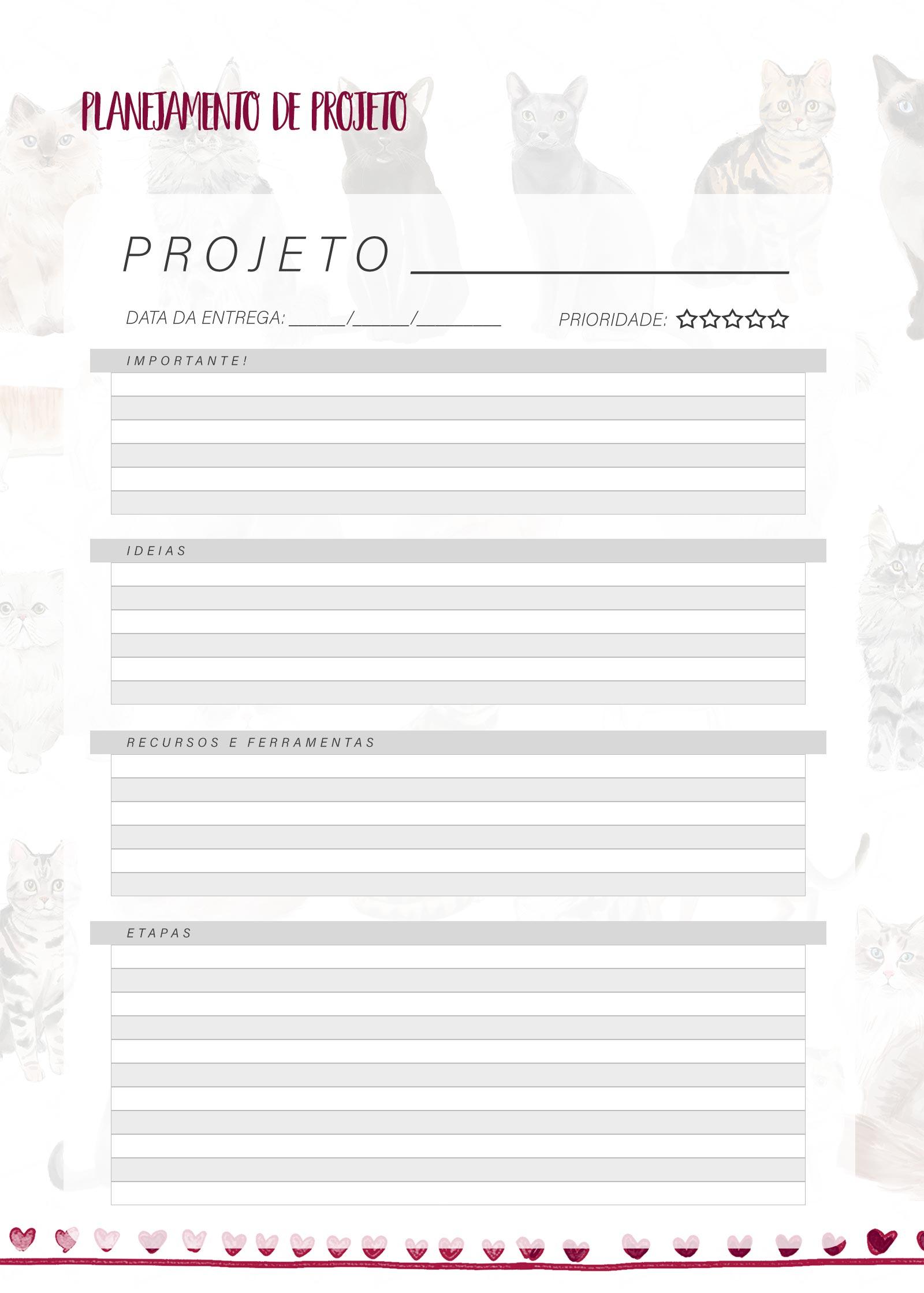Planner Gatinhos Projetos