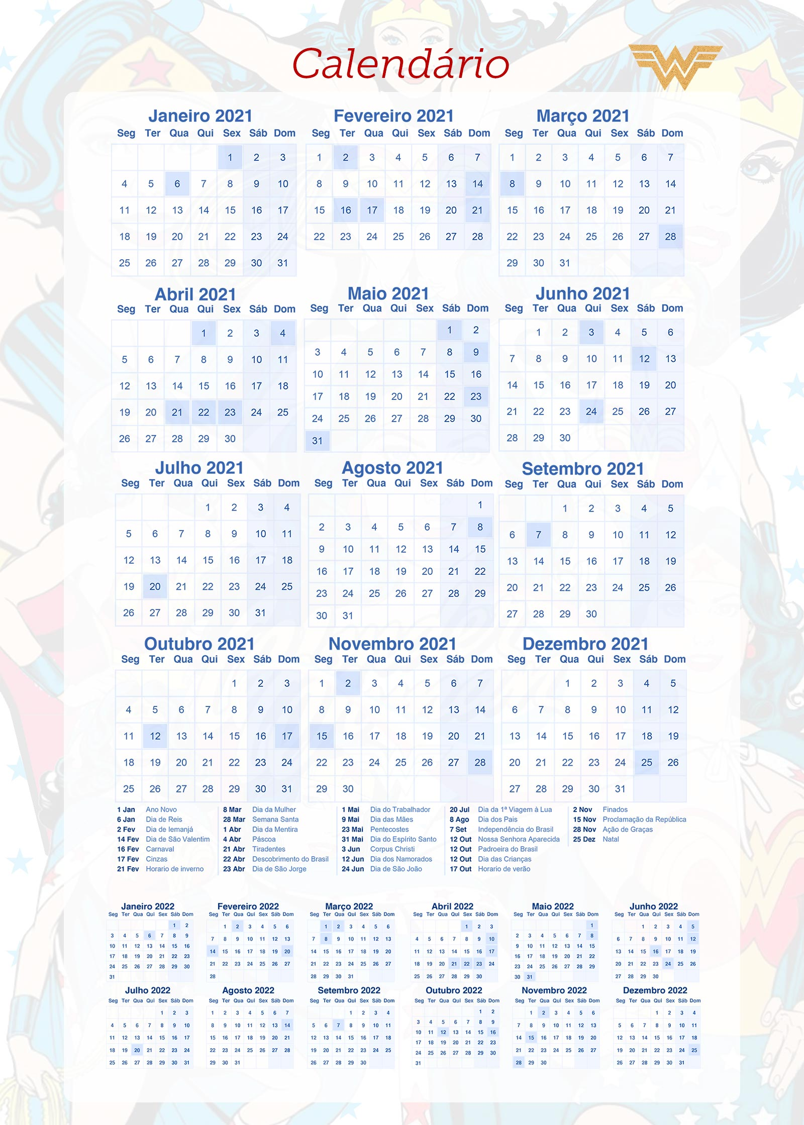 Planner Mulher Maravilha Calendario 2021