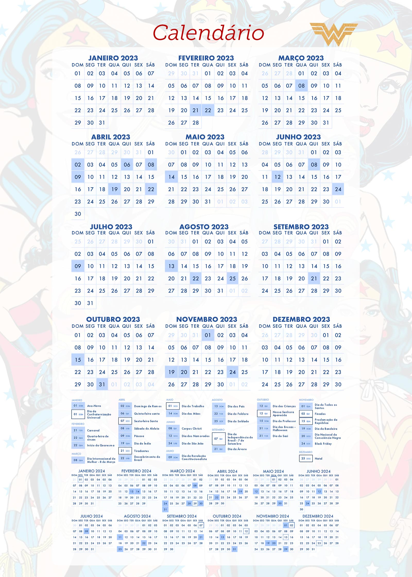 Planner Mulher Maravilha Calendario 2023