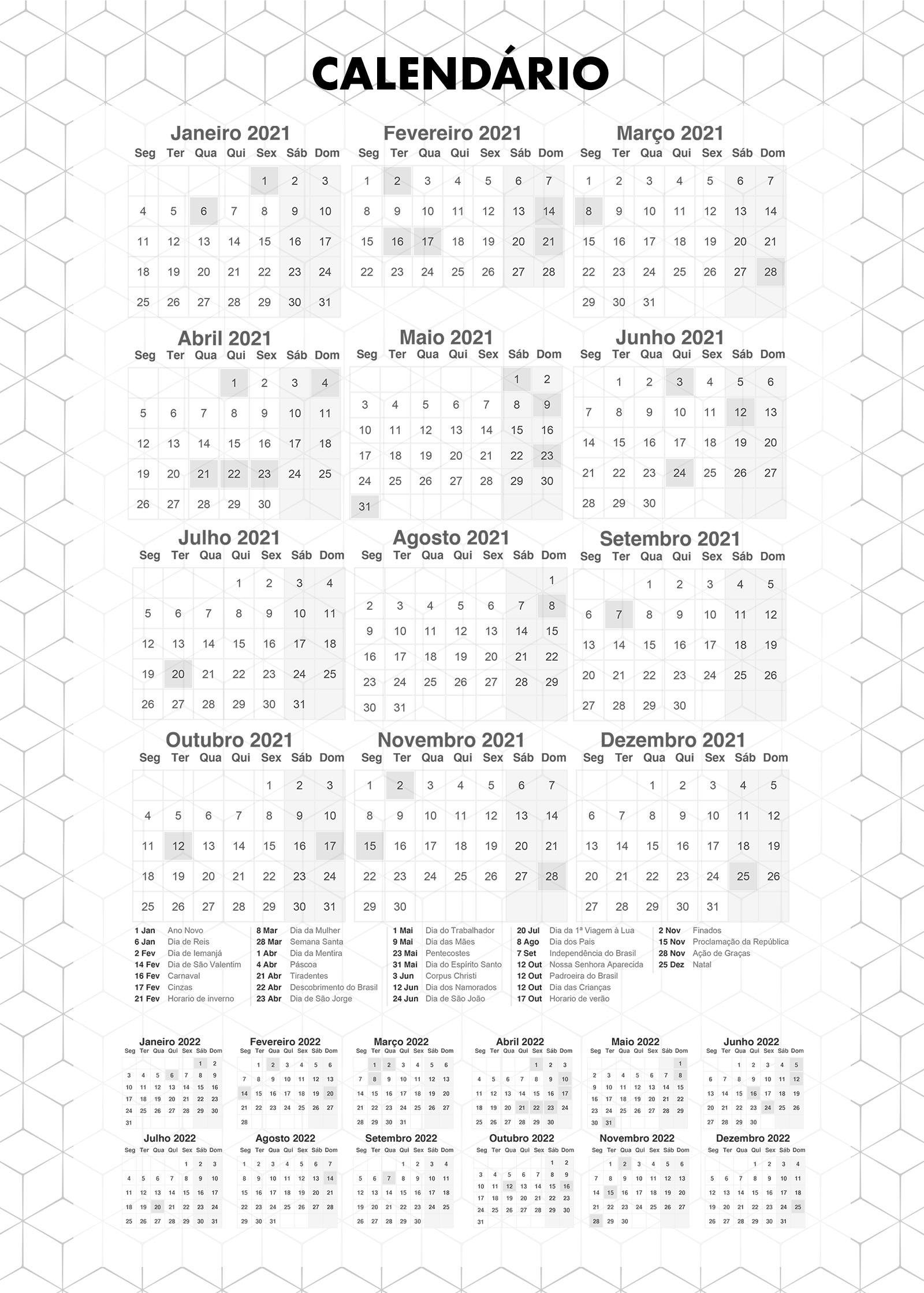 Planner Preto e Branco Calendario 2021