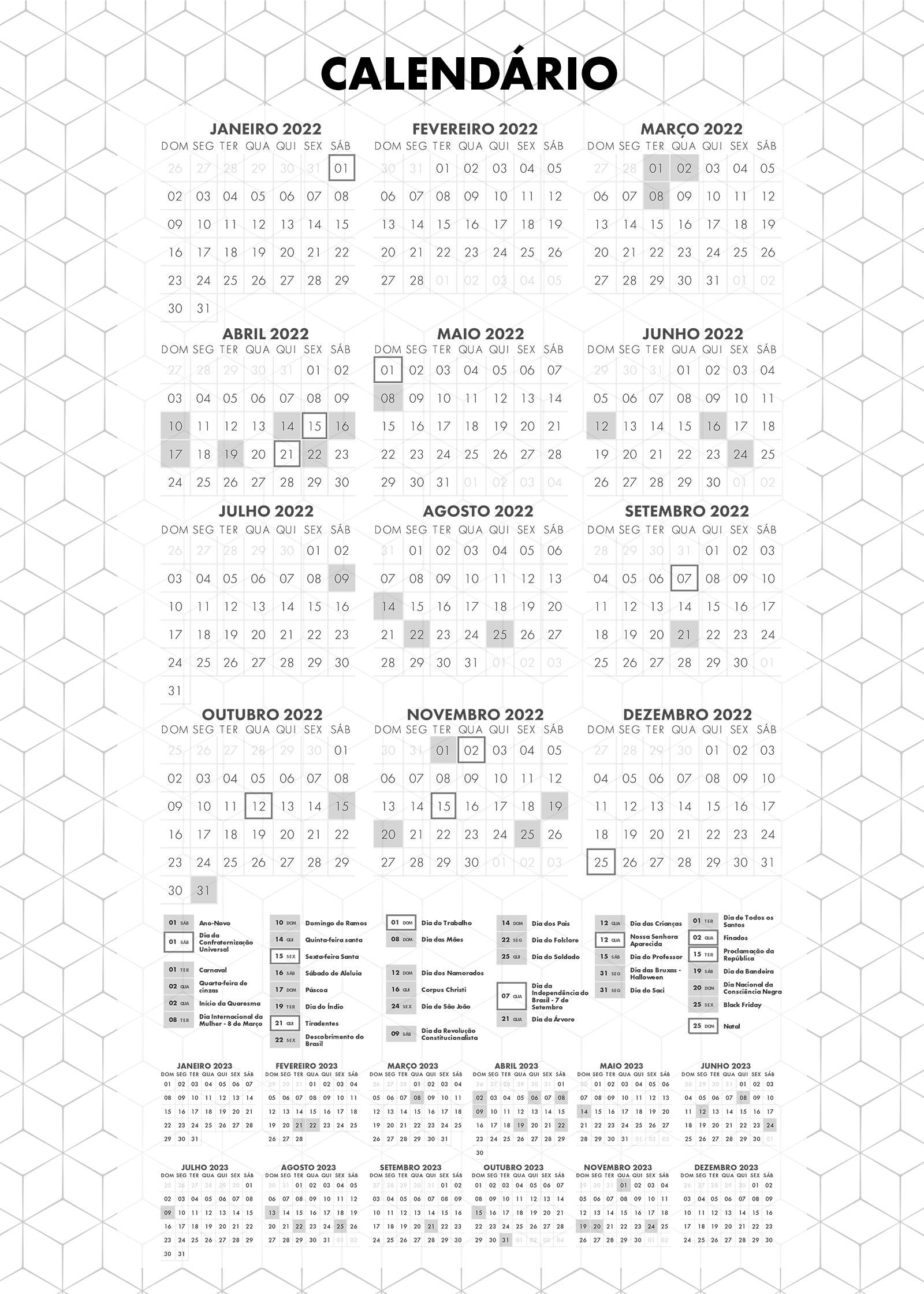 Planner Preto e Branco Calendario 2022