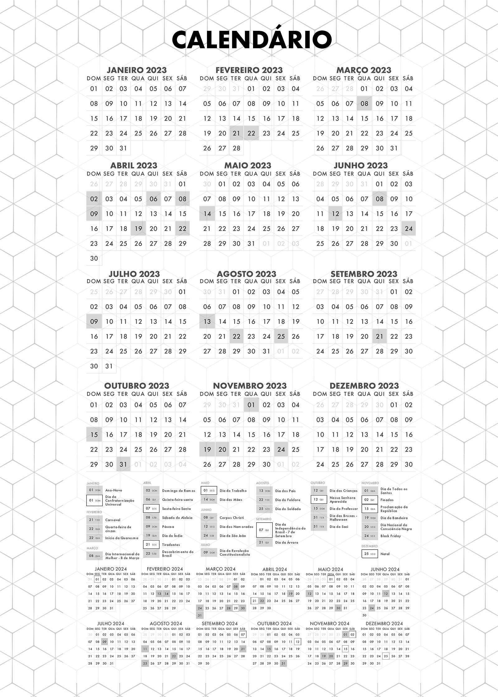 Planner Preto e Branco Calendario 2023