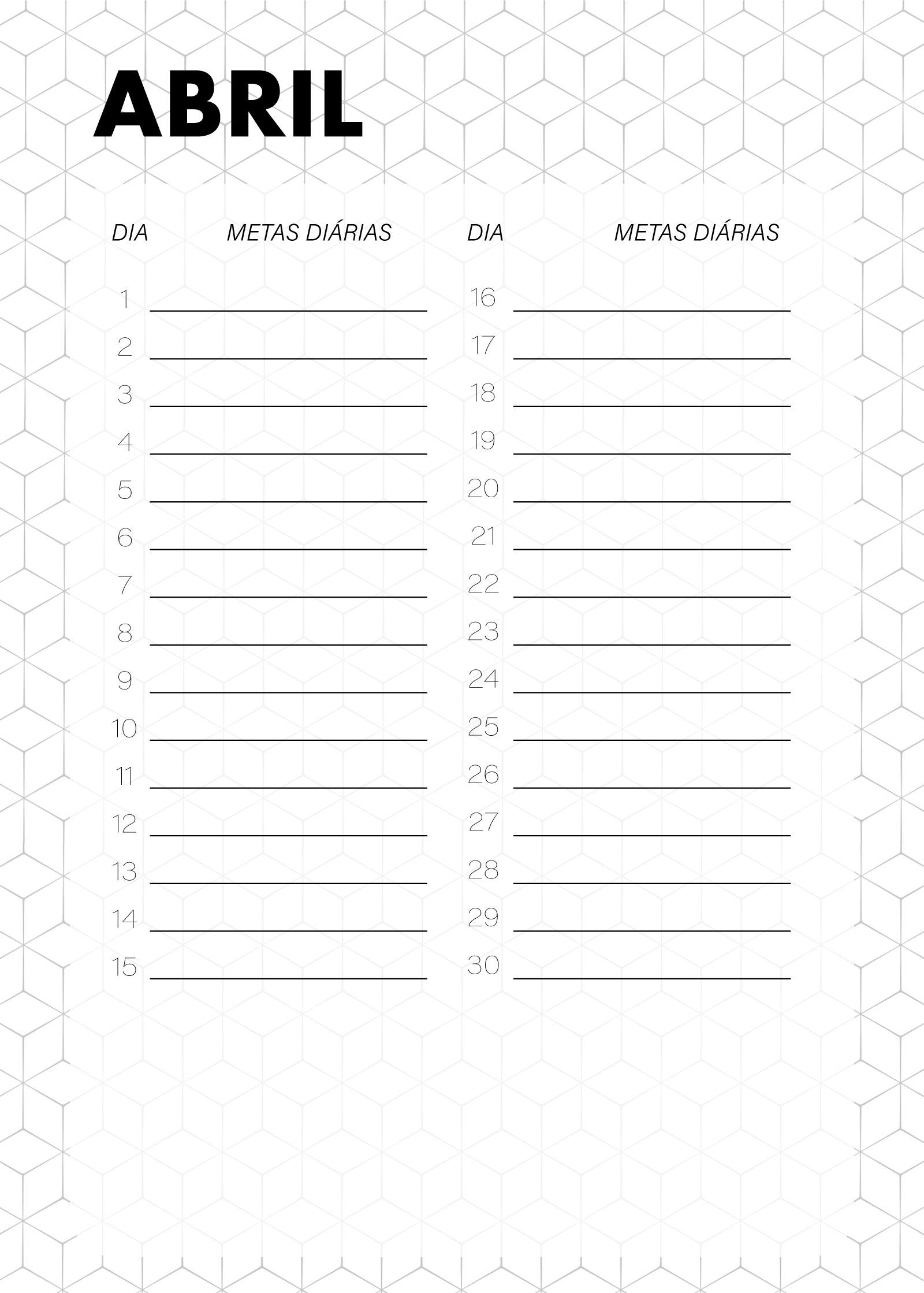 Planner Preto e Branco Metas Diarias Abril