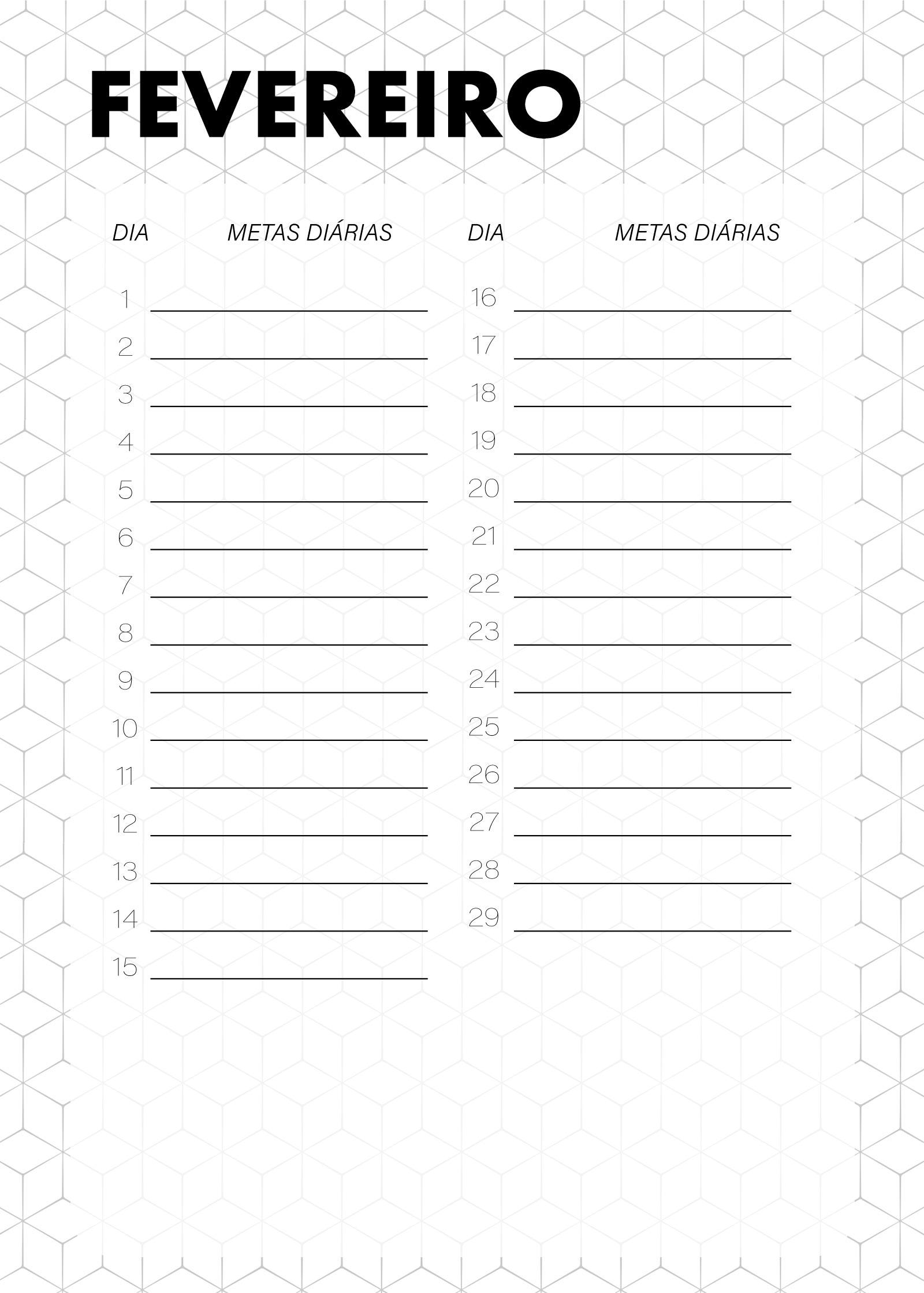 Planner Preto e Branco Metas Diarias Fevereiro