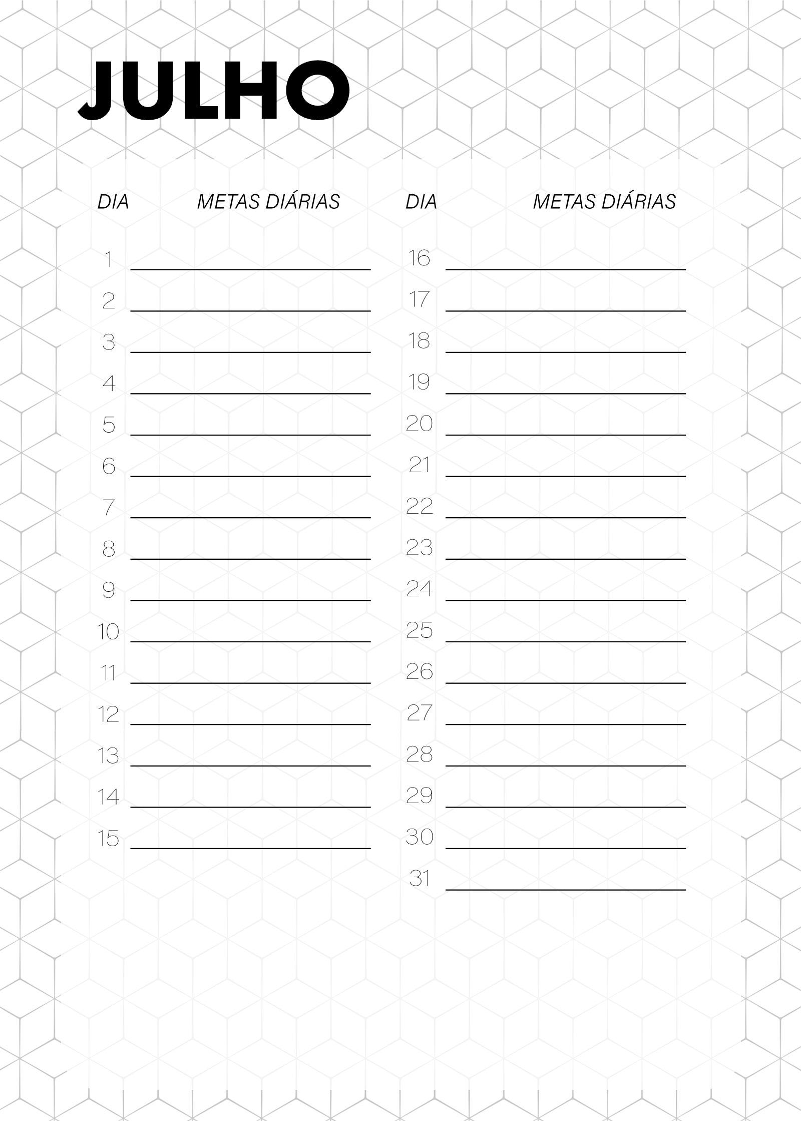 Planner Preto e Branco Metas Diarias Julho