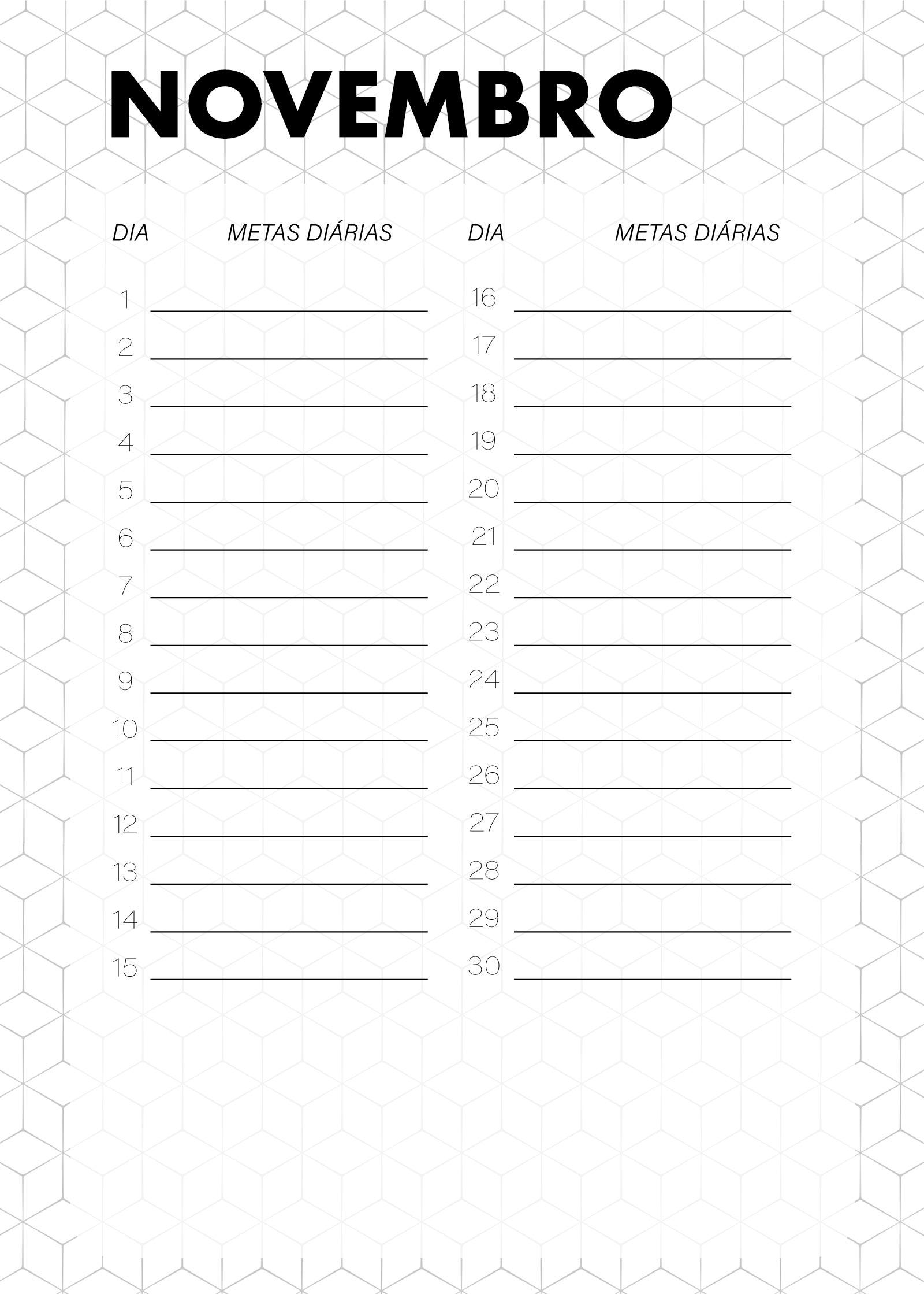 Planner Preto e Branco Metas Diarias Novembro
