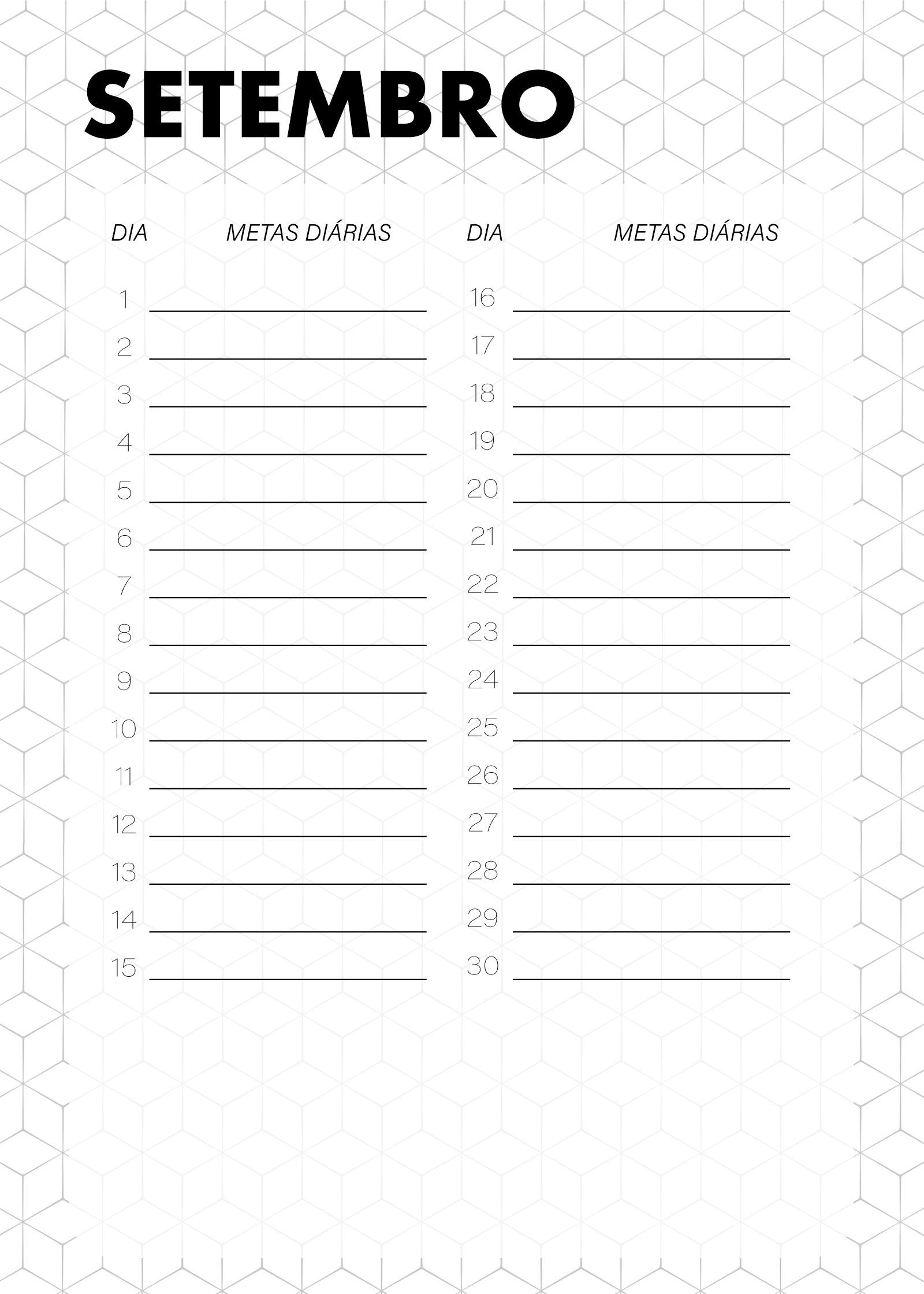 Planner Preto e Branco Metas Diarias Setembro