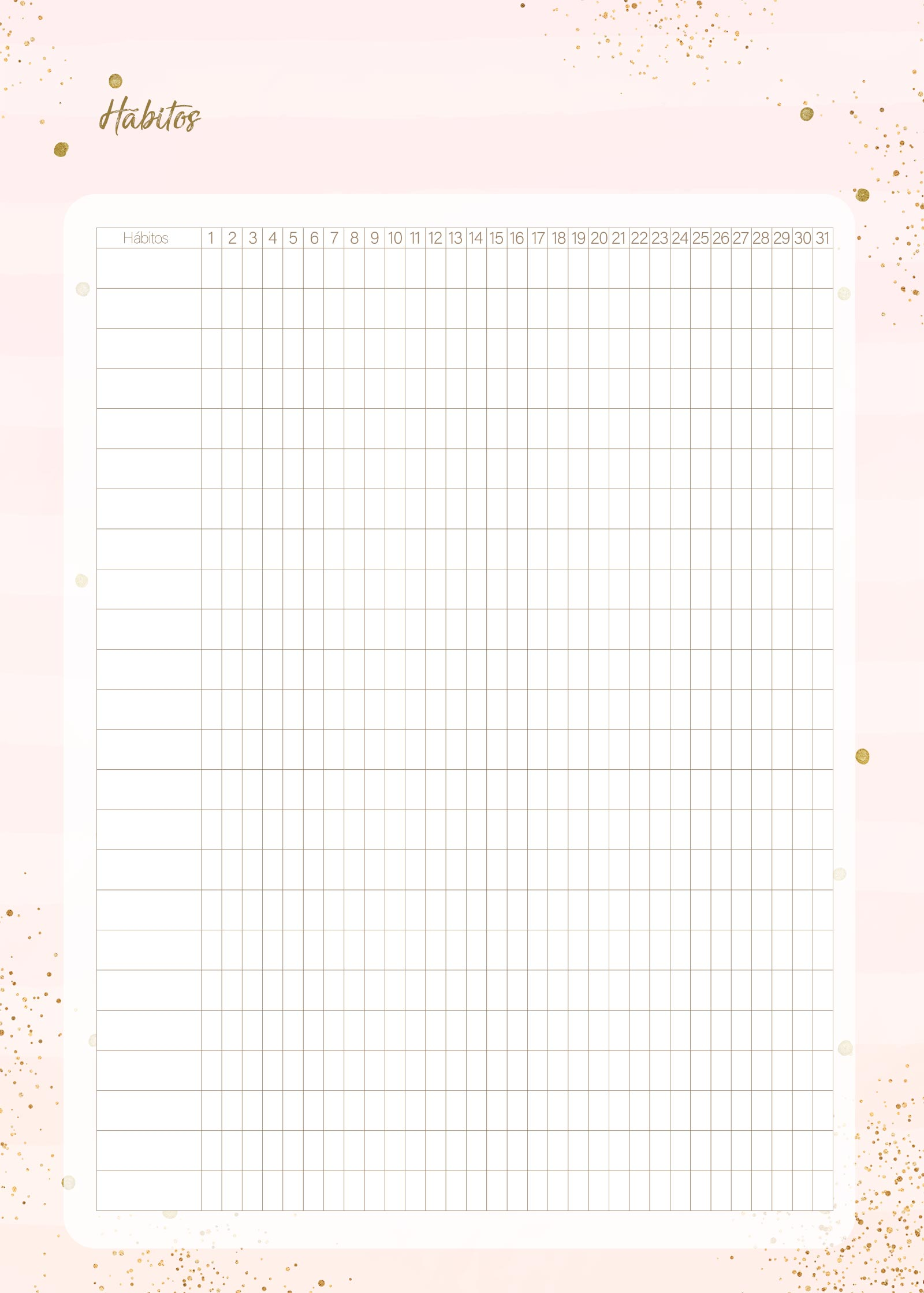 Planner Rose Gold Habitos