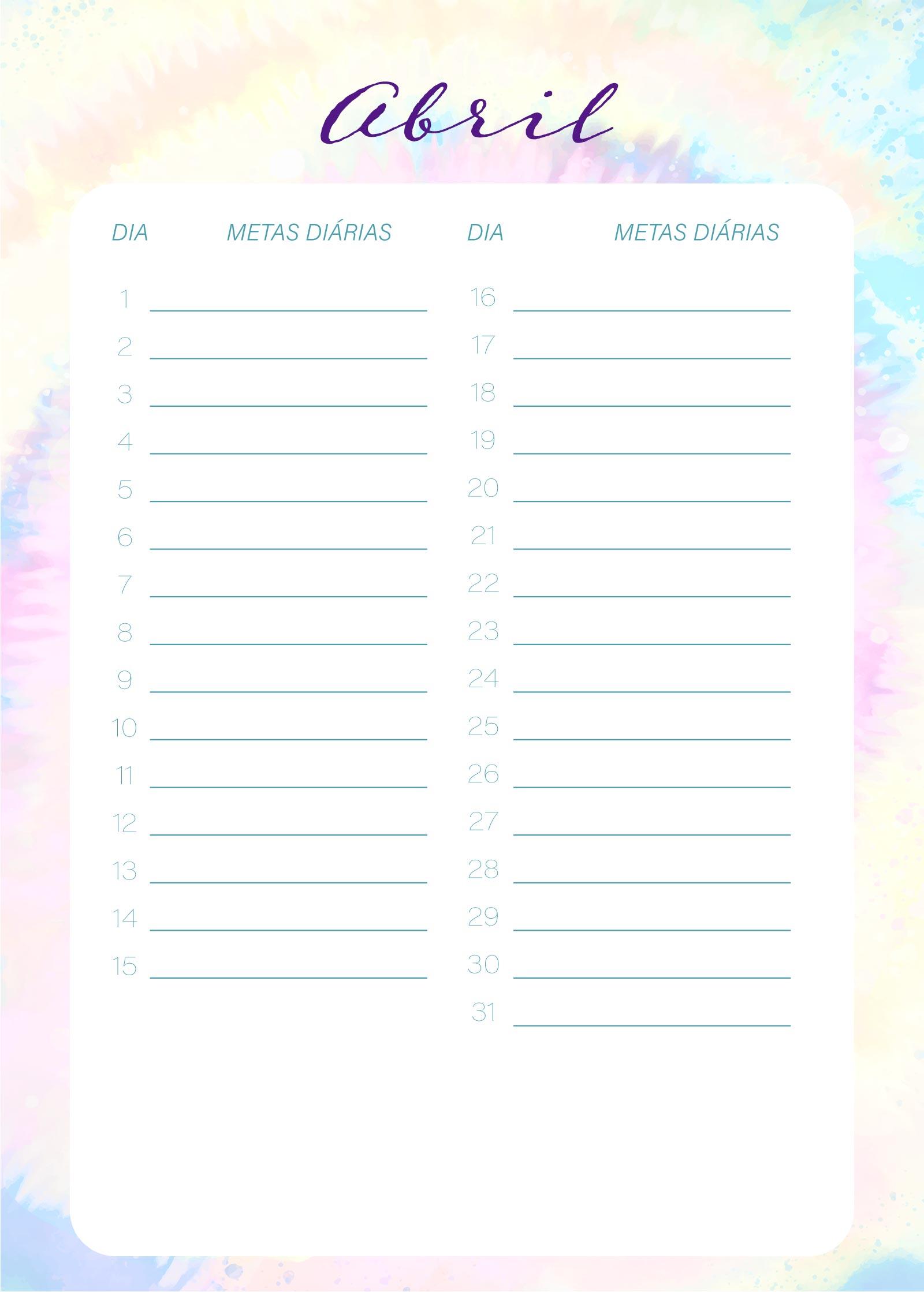 Planner Tie Dye Abril Metas Diarias