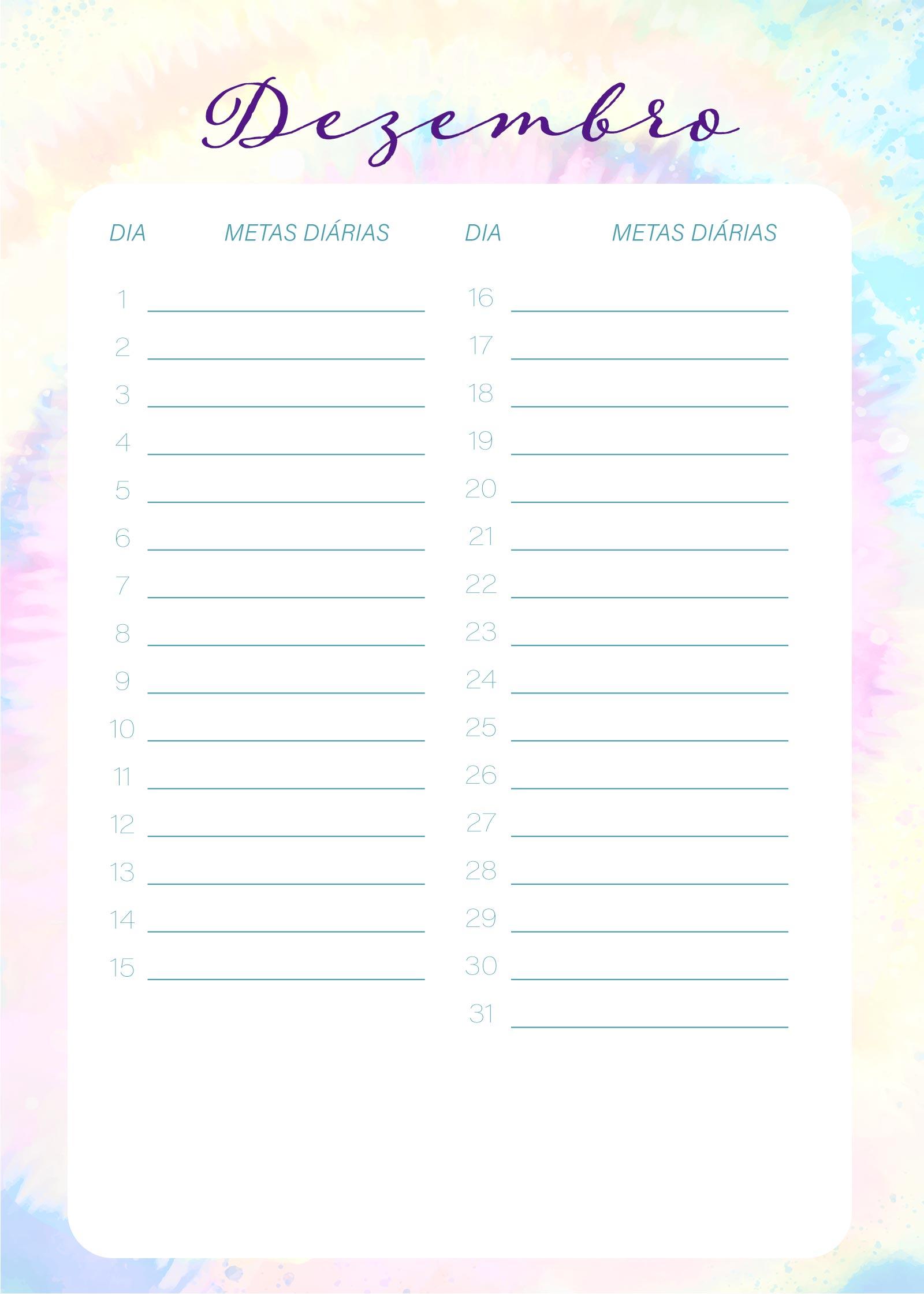 Planner Tie Dye Dezembro Metas Diarias
