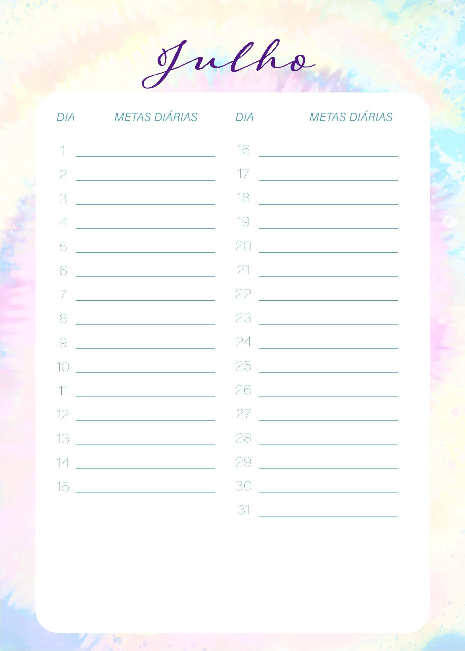 Planner Tie Dye Julho Metas Diarias