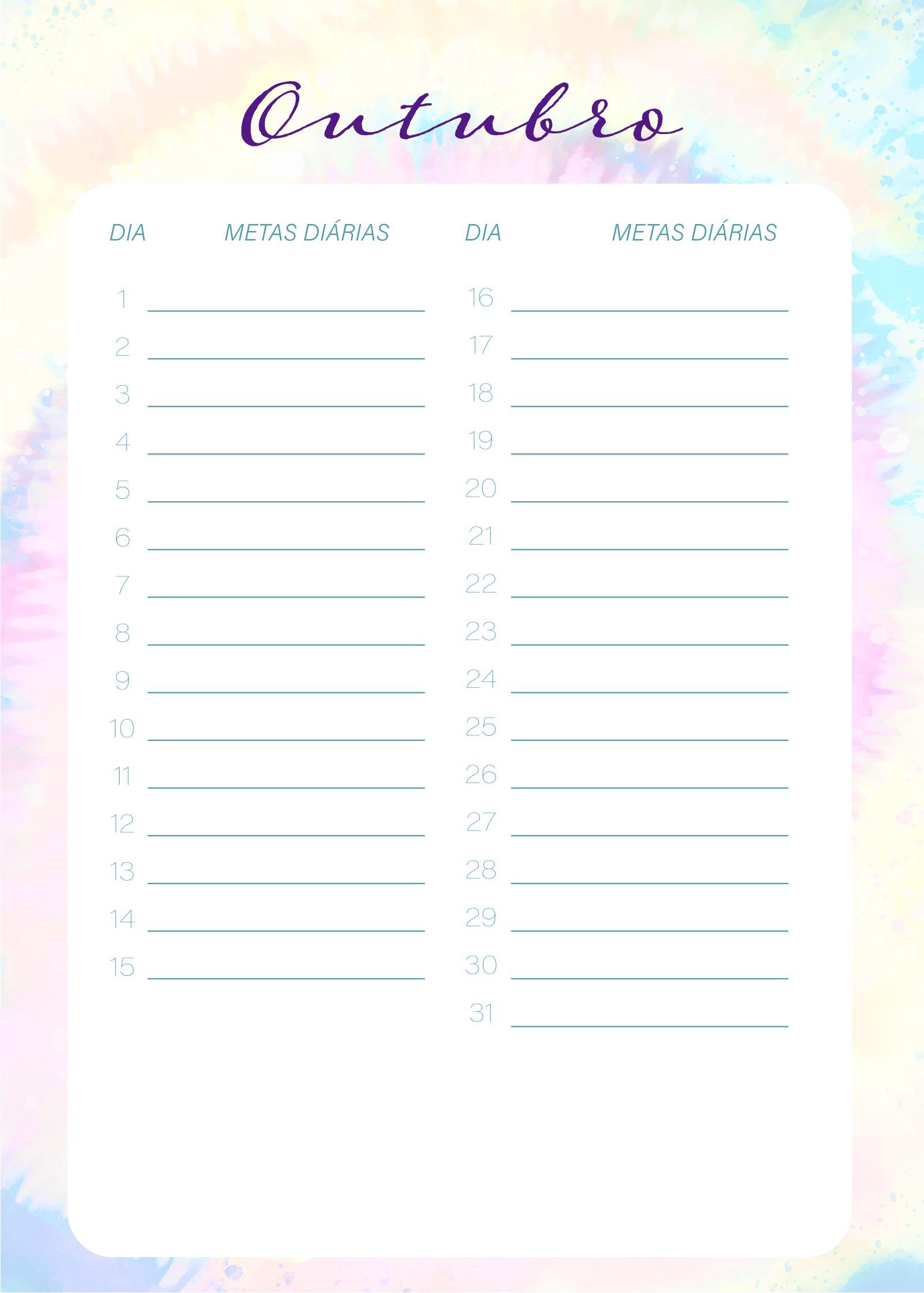 Planner Tie Dye Outubro Metas Diarias