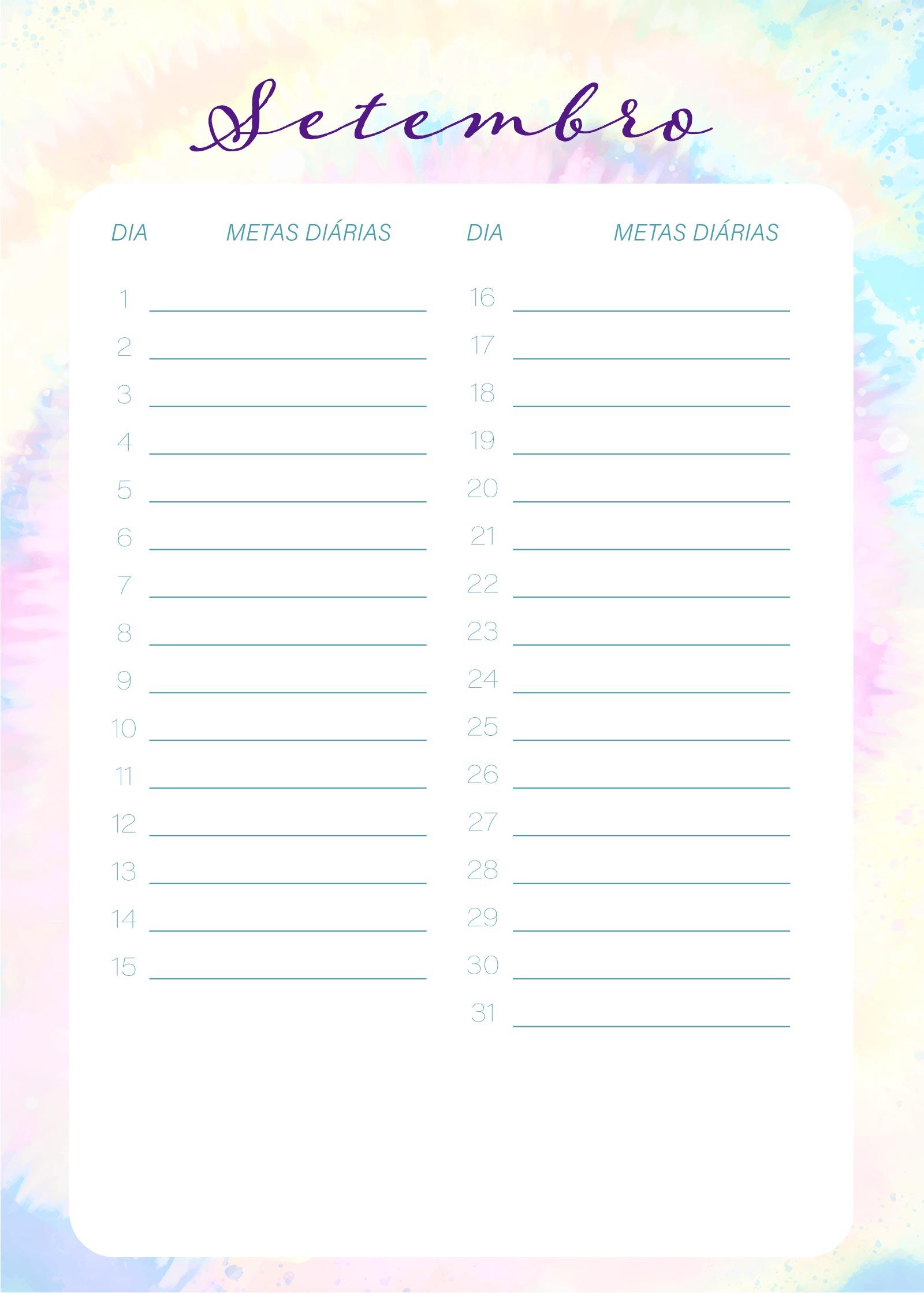 Planner Tie Dye Setembro Metas Diarias
