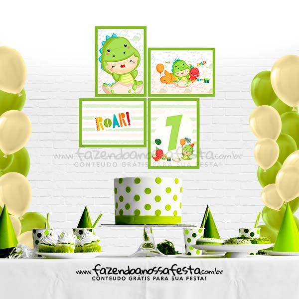 Quadrinhos decorativo Festa Dinossauro Baby