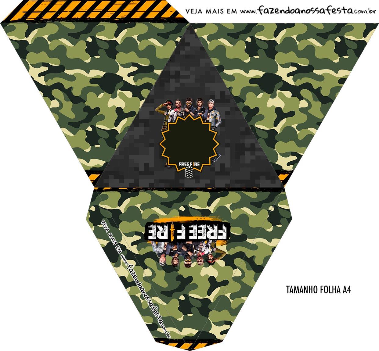 Caixa Piramide Personalizada Free Fire