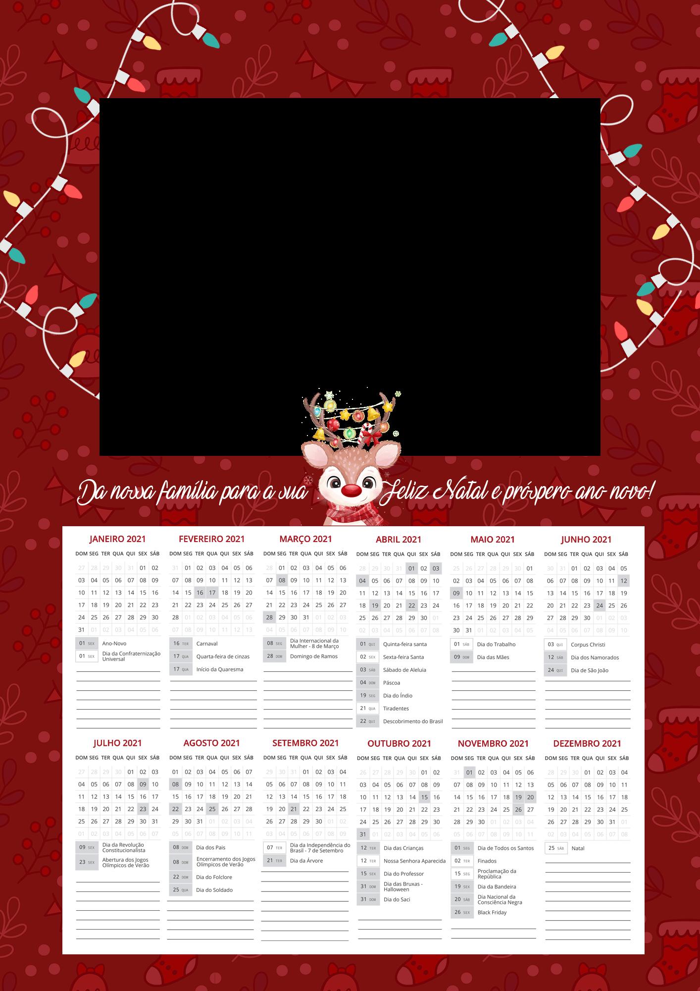 Calendario 2021 Personalizado com foto de Natal 3