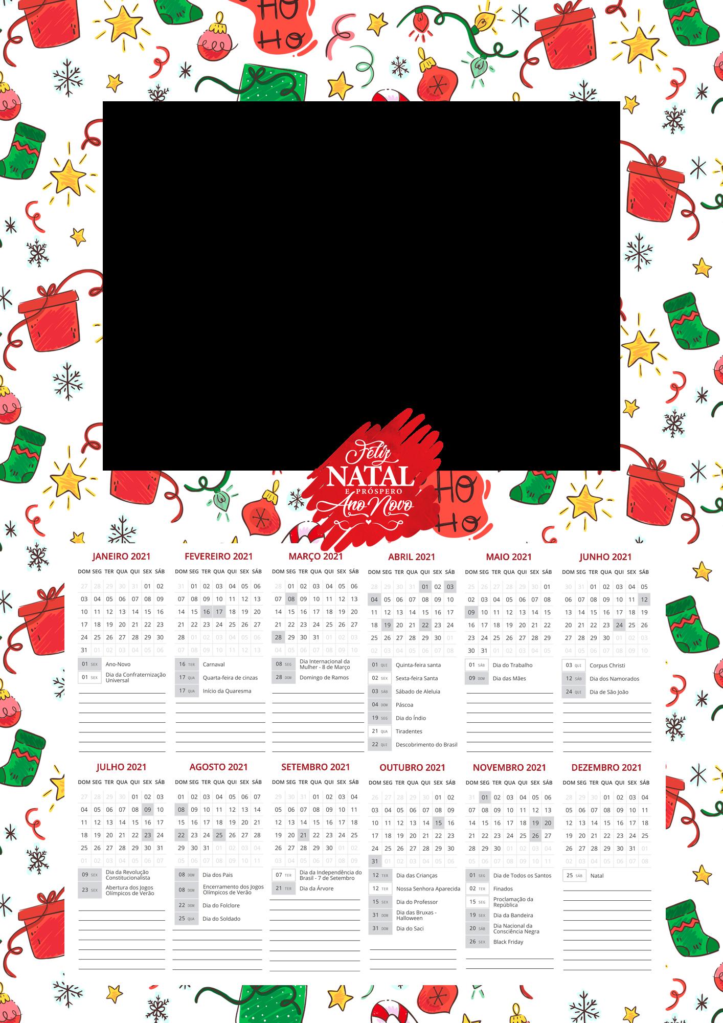 Calendario 2021 Personalizado com foto de Natal 5
