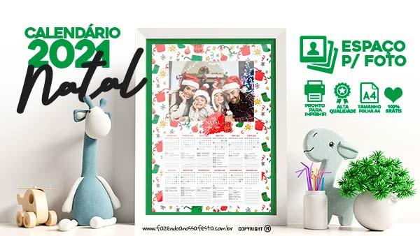 Calendario 2021 Personalizado com foto de Natal