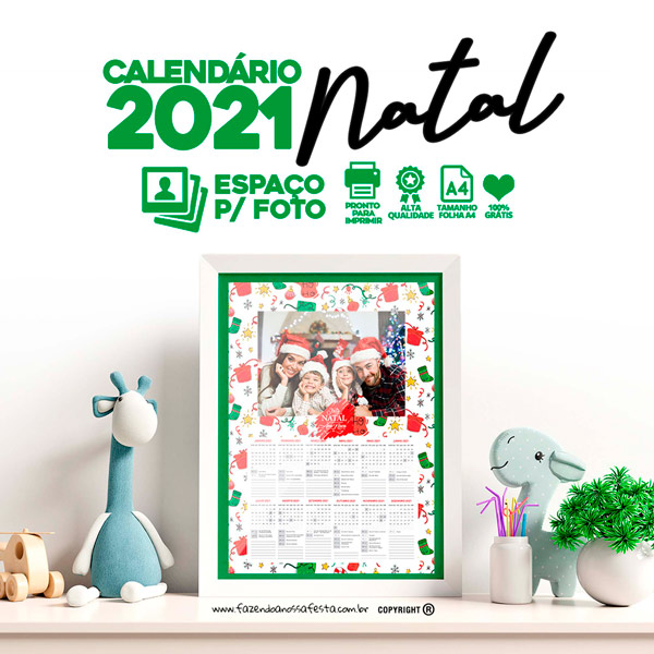 Calendario 2021 modelo Natal 2
