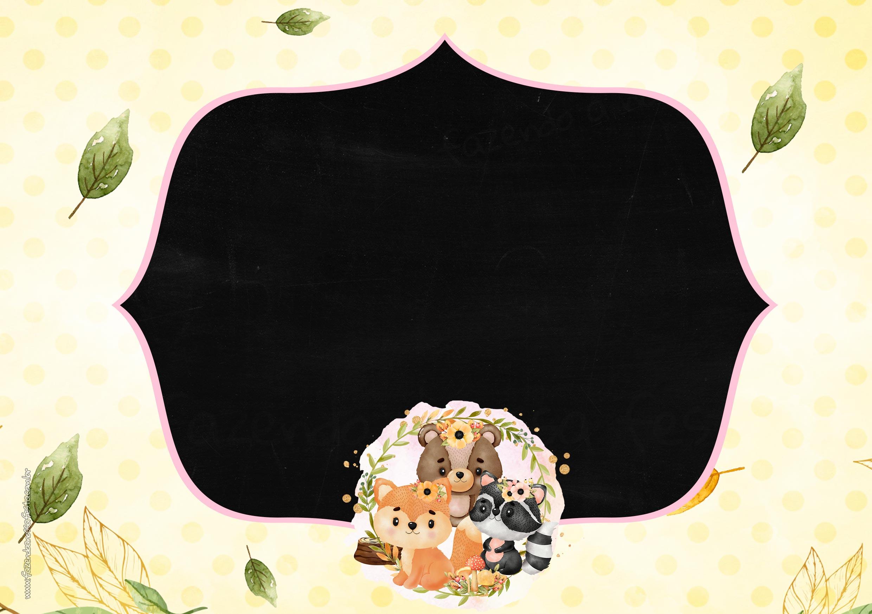 Convite Chalkboard Bosque Encantado Menina 5
