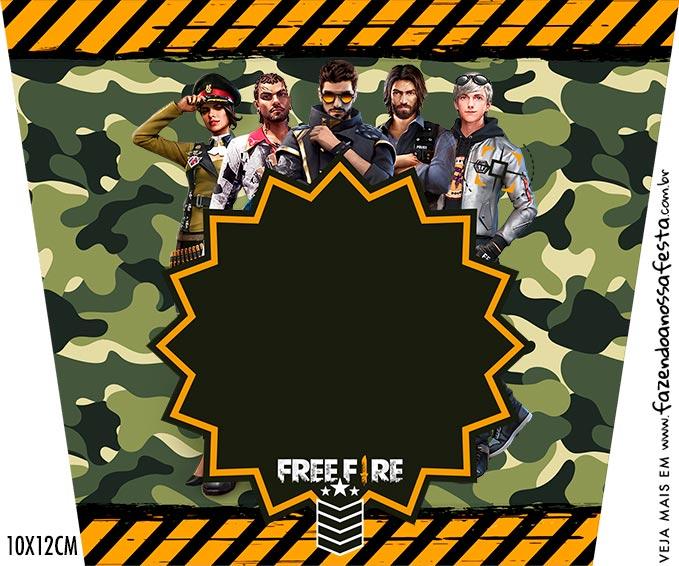 Kit Festa Free Fire Adesivo Balde de Pipoca
