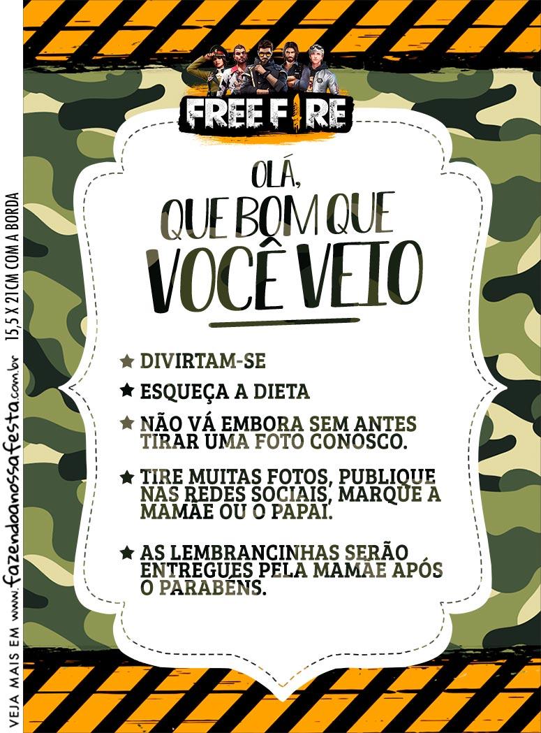 Kit Festa Free Fire Recado de Mesa