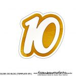 Numero 10 Topper de bolo Ano Novo