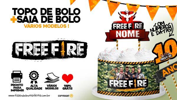 Topo de Bolo Free Fire para imprimir